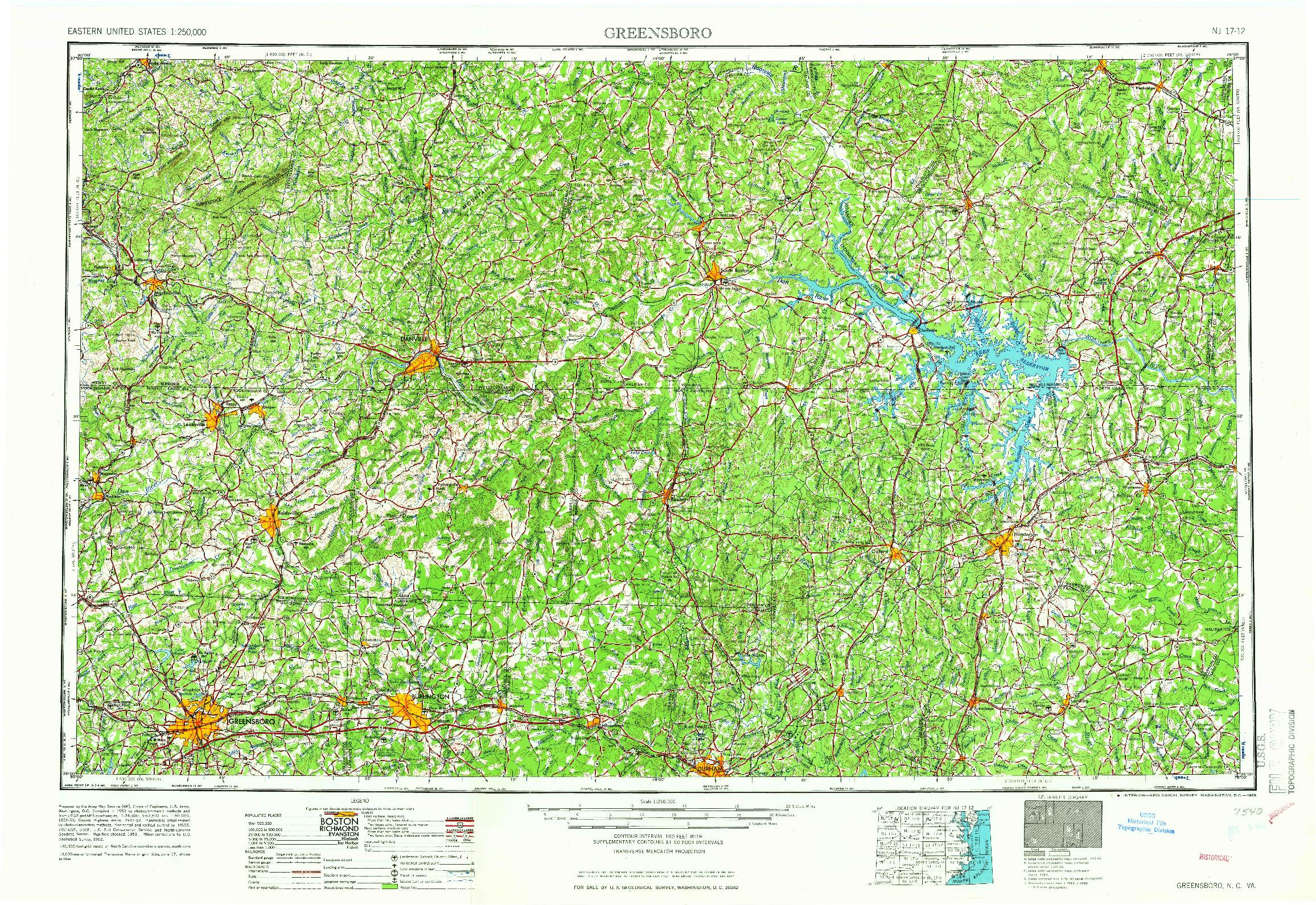 USGS 1:250000-SCALE QUADRANGLE FOR GREENSBORO, NC 1966