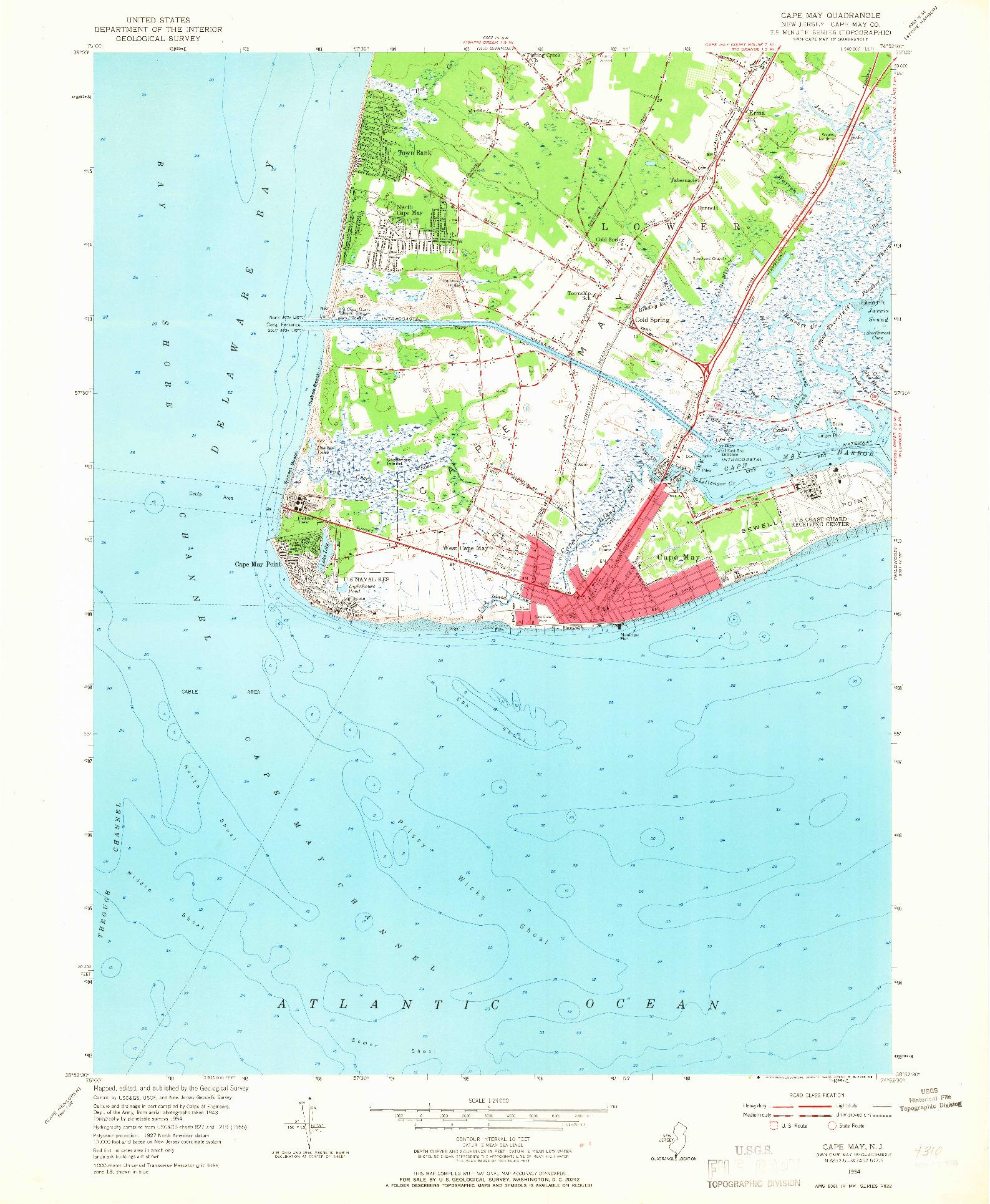 USGS 1:24000-SCALE QUADRANGLE FOR CAPE MAY, NJ 1954