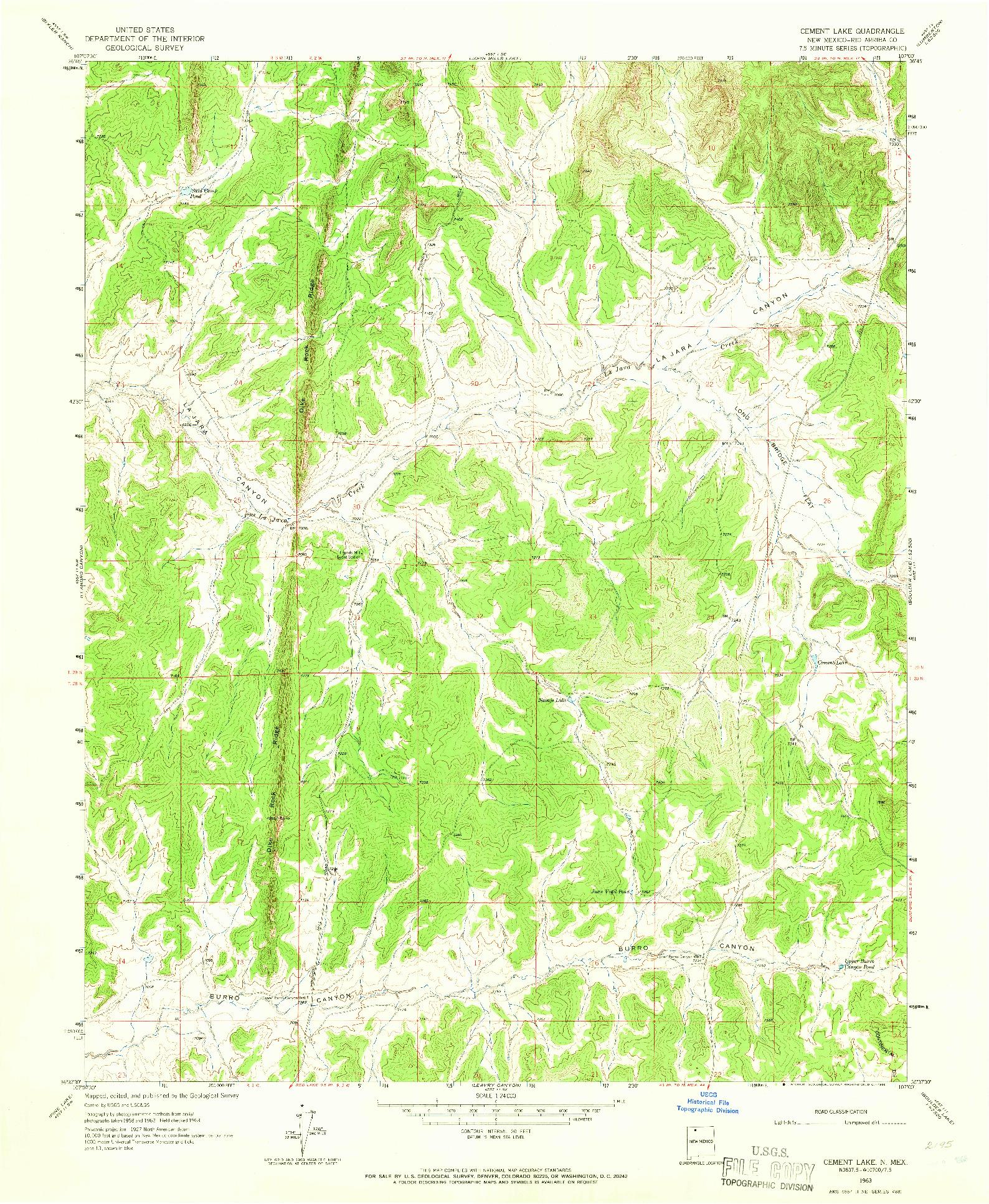 USGS 1:24000-SCALE QUADRANGLE FOR CEMENT LAKE, NM 1963