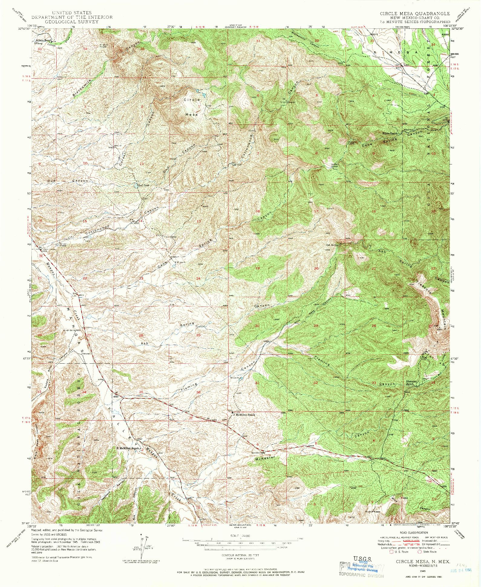 USGS 1:24000-SCALE QUADRANGLE FOR CIRCLE MESA, NM 1949
