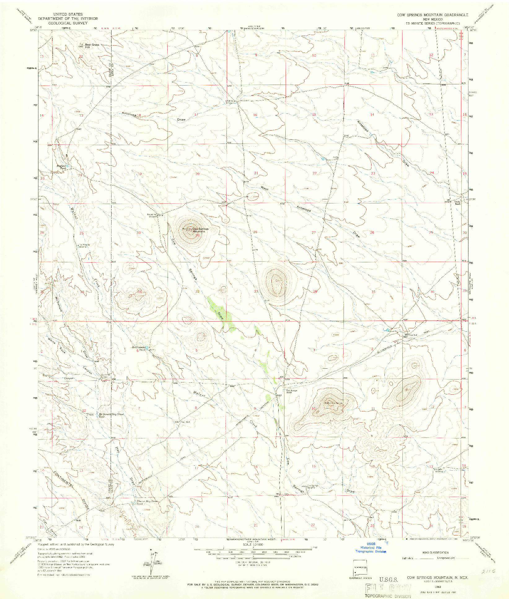 USGS 1:24000-SCALE QUADRANGLE FOR COW SPRINGS MOUNTAIN, NM 1963
