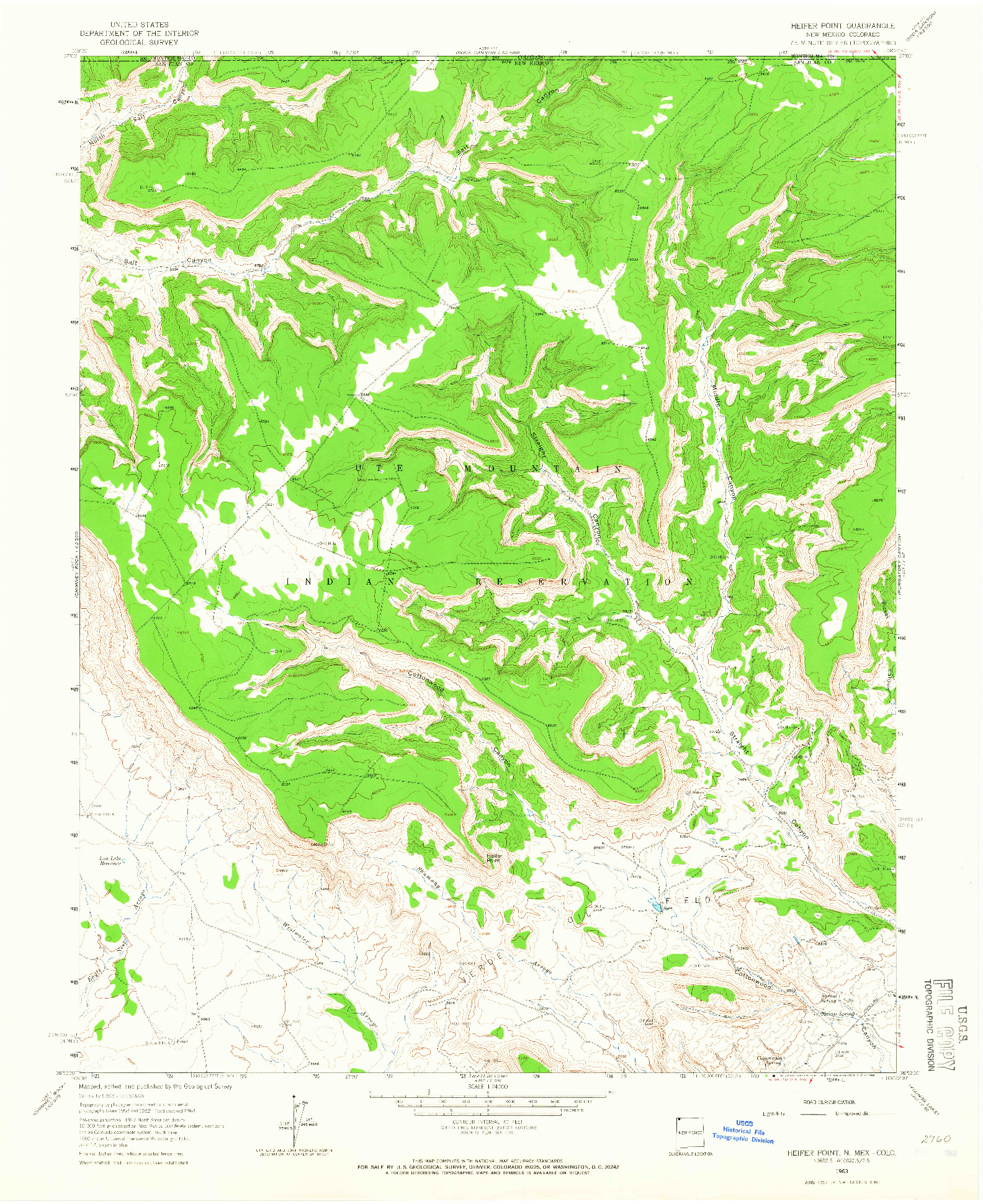 USGS 1:24000-SCALE QUADRANGLE FOR HEIFER POINT, NM 1963