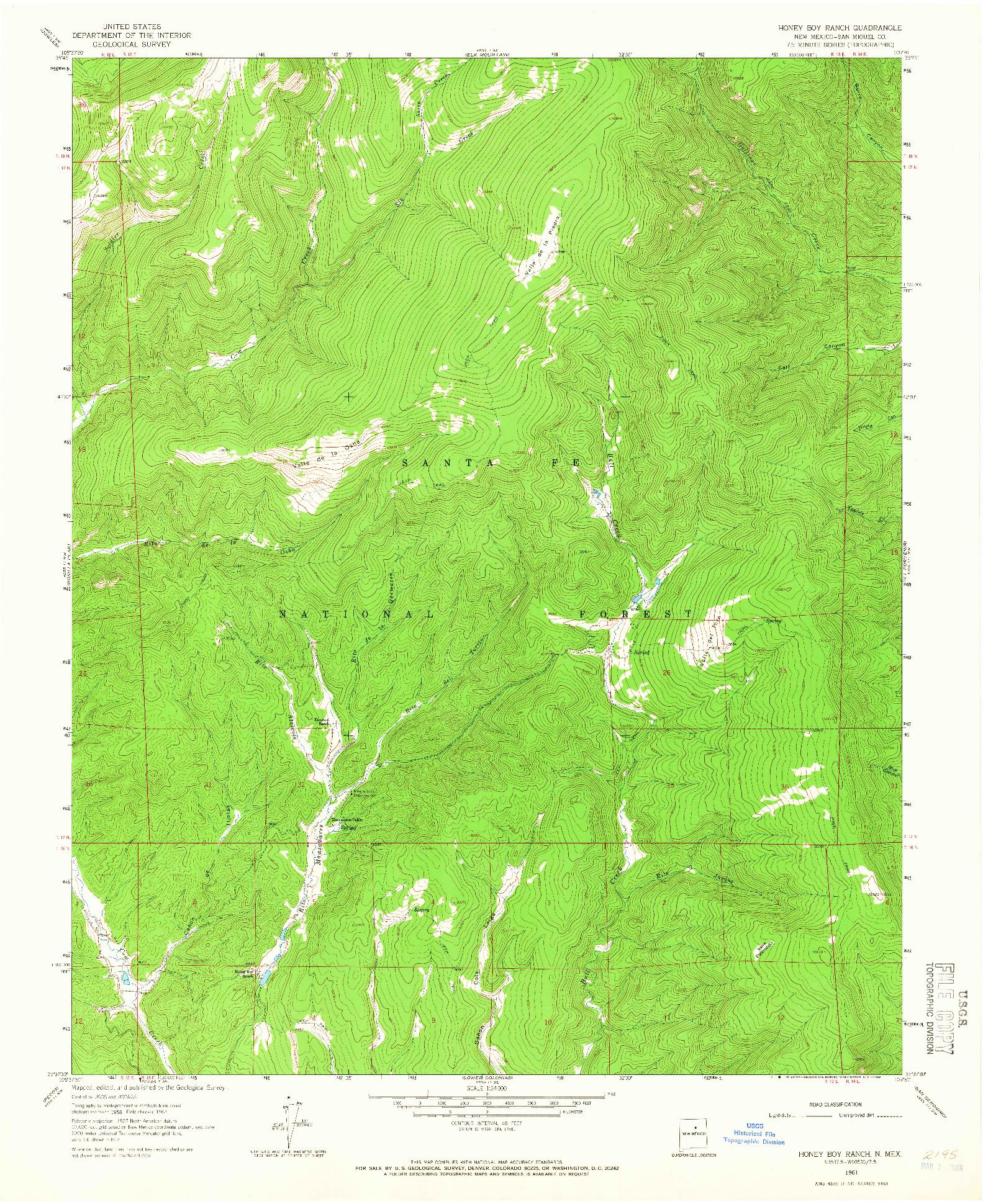USGS 1:24000-SCALE QUADRANGLE FOR HONEY BOY RANCH, NM 1961