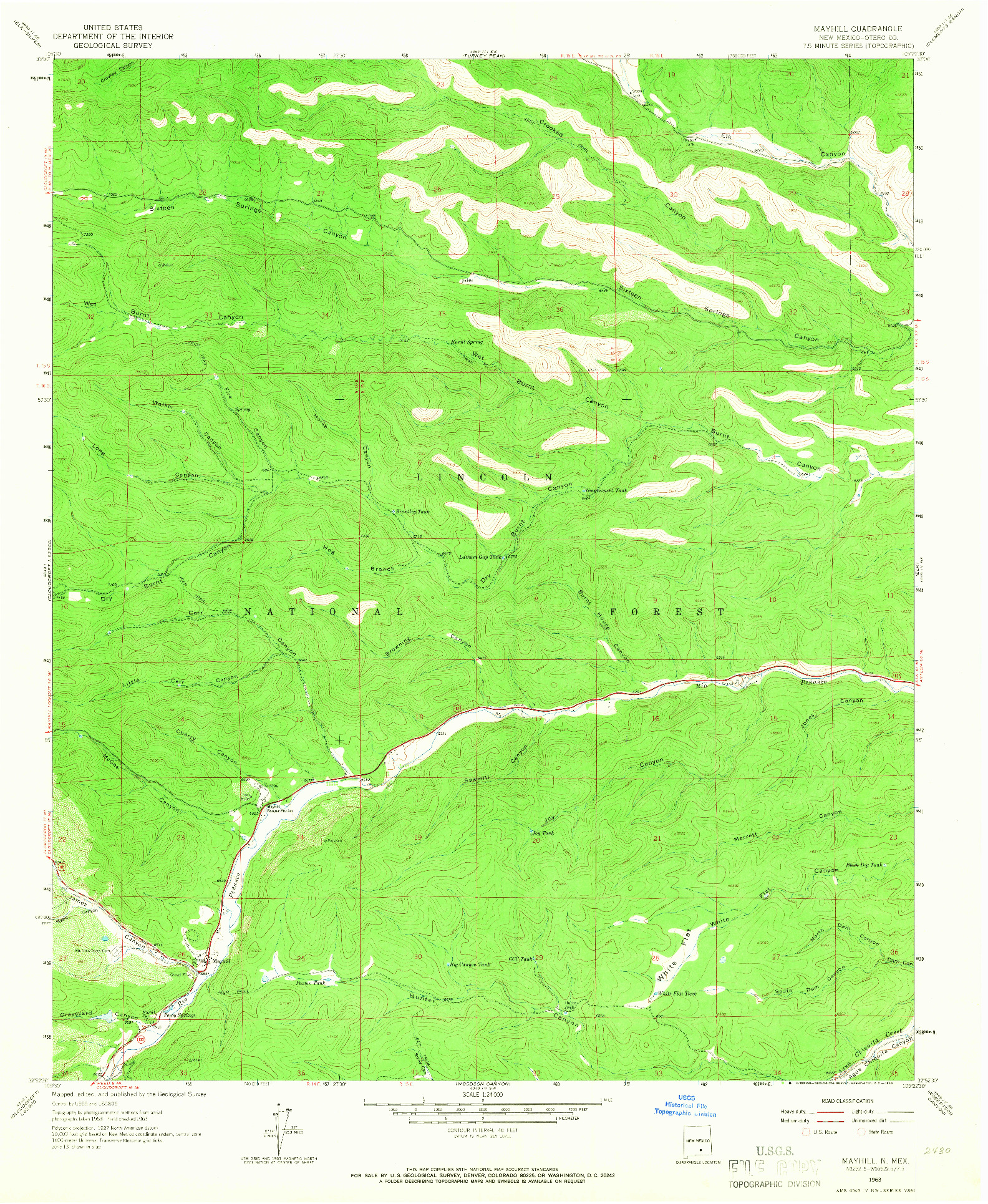 USGS 1:24000-SCALE QUADRANGLE FOR MAYHILL, NM 1963
