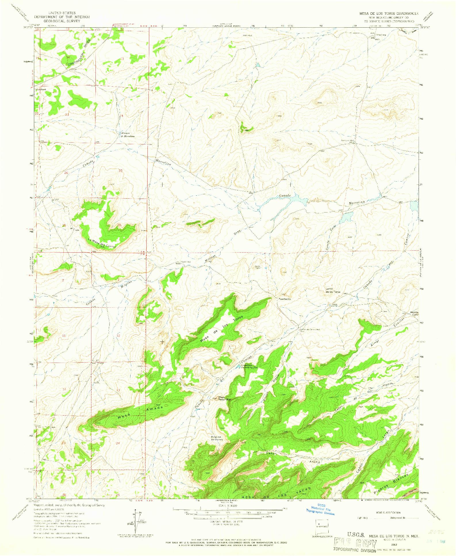 USGS 1:24000-SCALE QUADRANGLE FOR MESA DE LOS TOROS, NM 1963