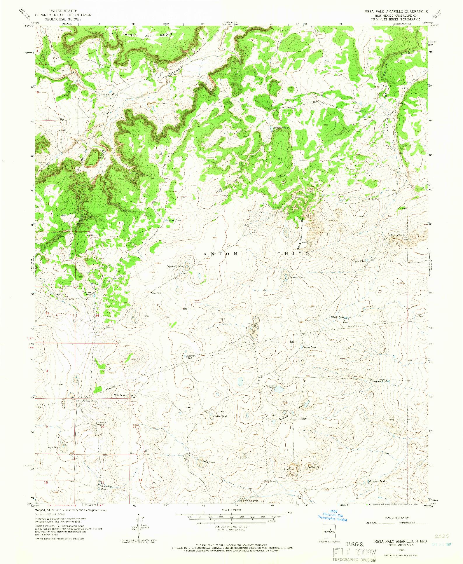 USGS 1:24000-SCALE QUADRANGLE FOR MESA PALO AMARILLO, NM 1963