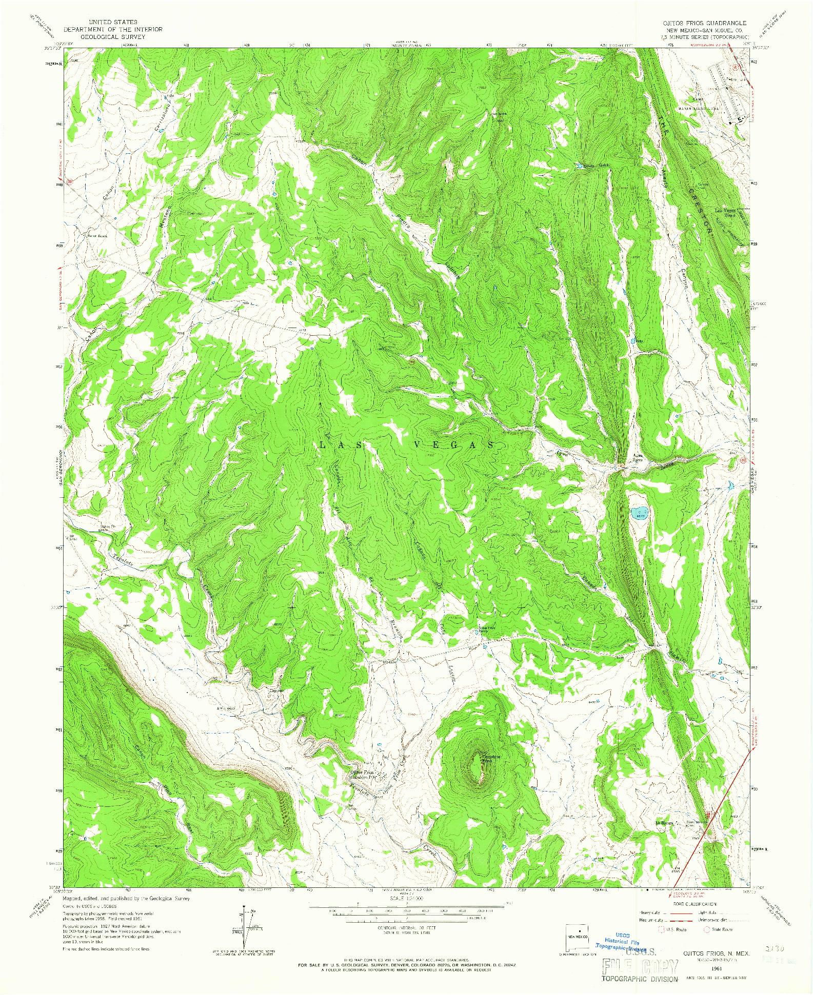 USGS 1:24000-SCALE QUADRANGLE FOR OJITOS FRIOS, NM 1961