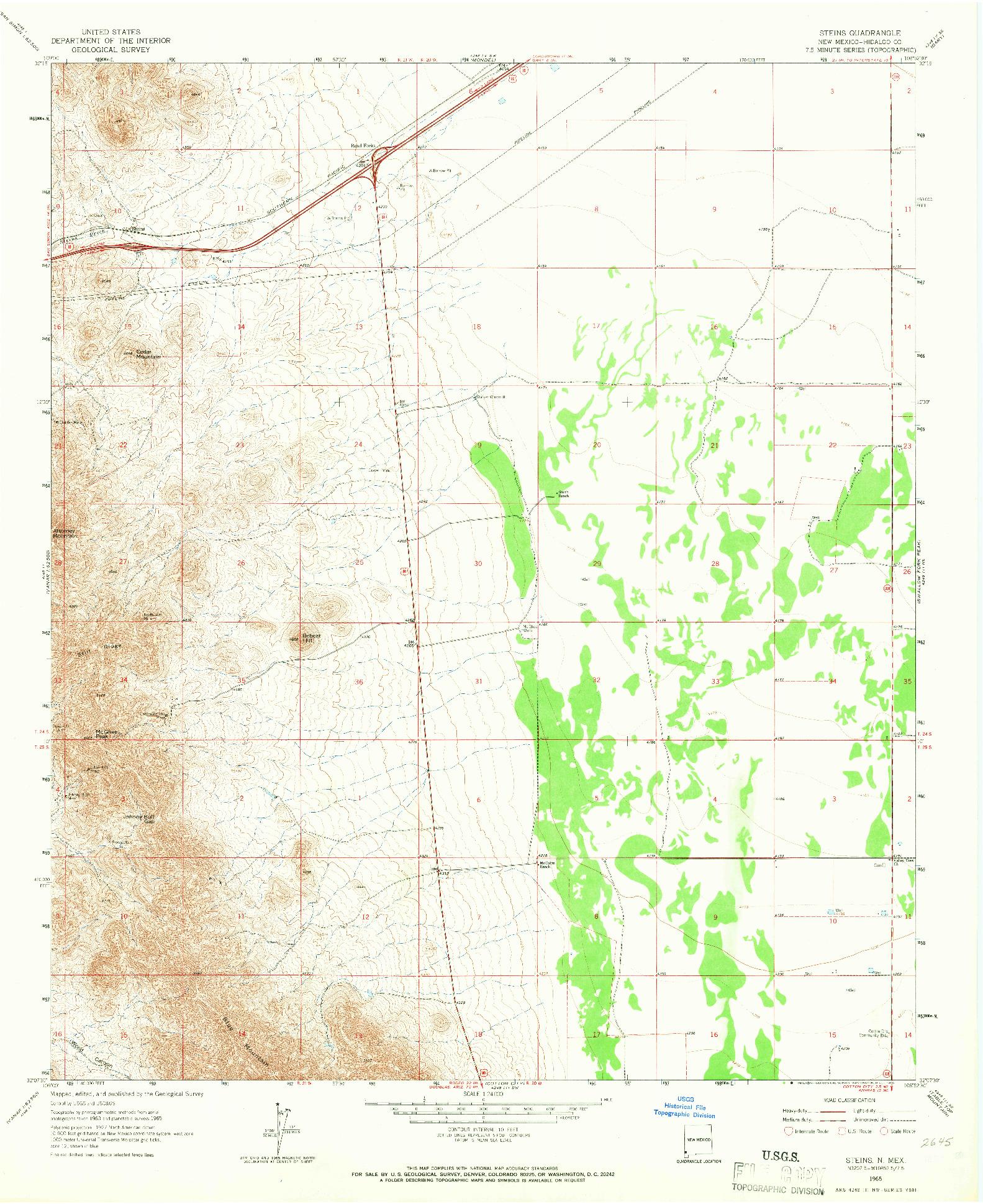 USGS 1:24000-SCALE QUADRANGLE FOR STEINS, NM 1965