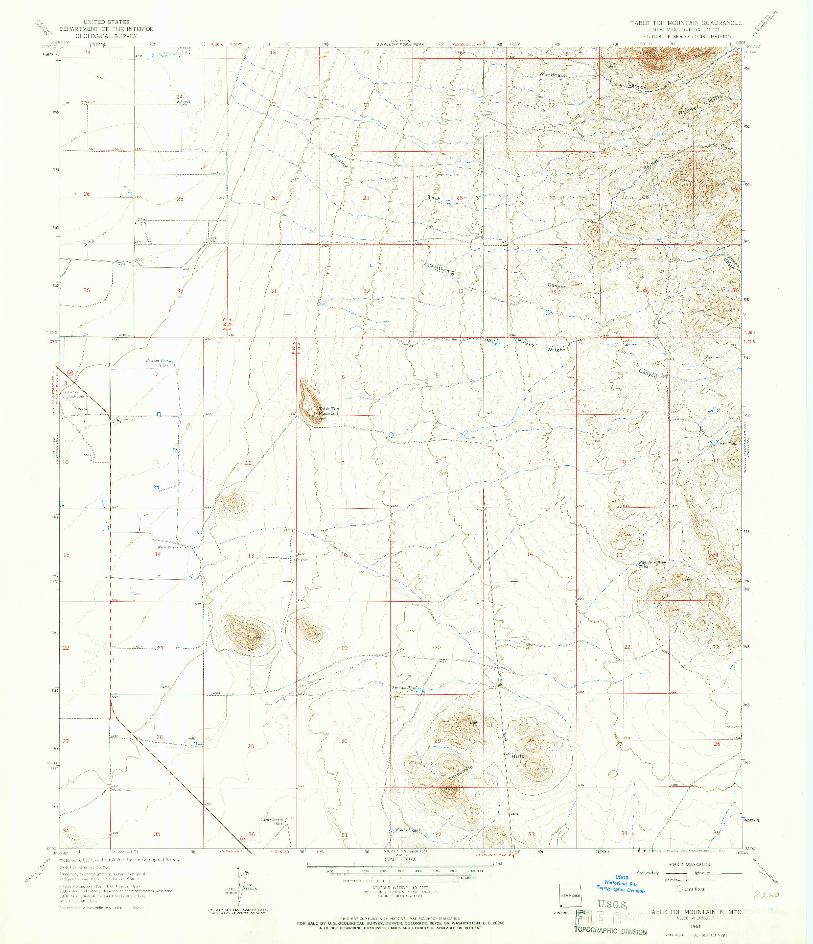USGS 1:24000-SCALE QUADRANGLE FOR TABLE TOP MOUNTAIN, NM 1964
