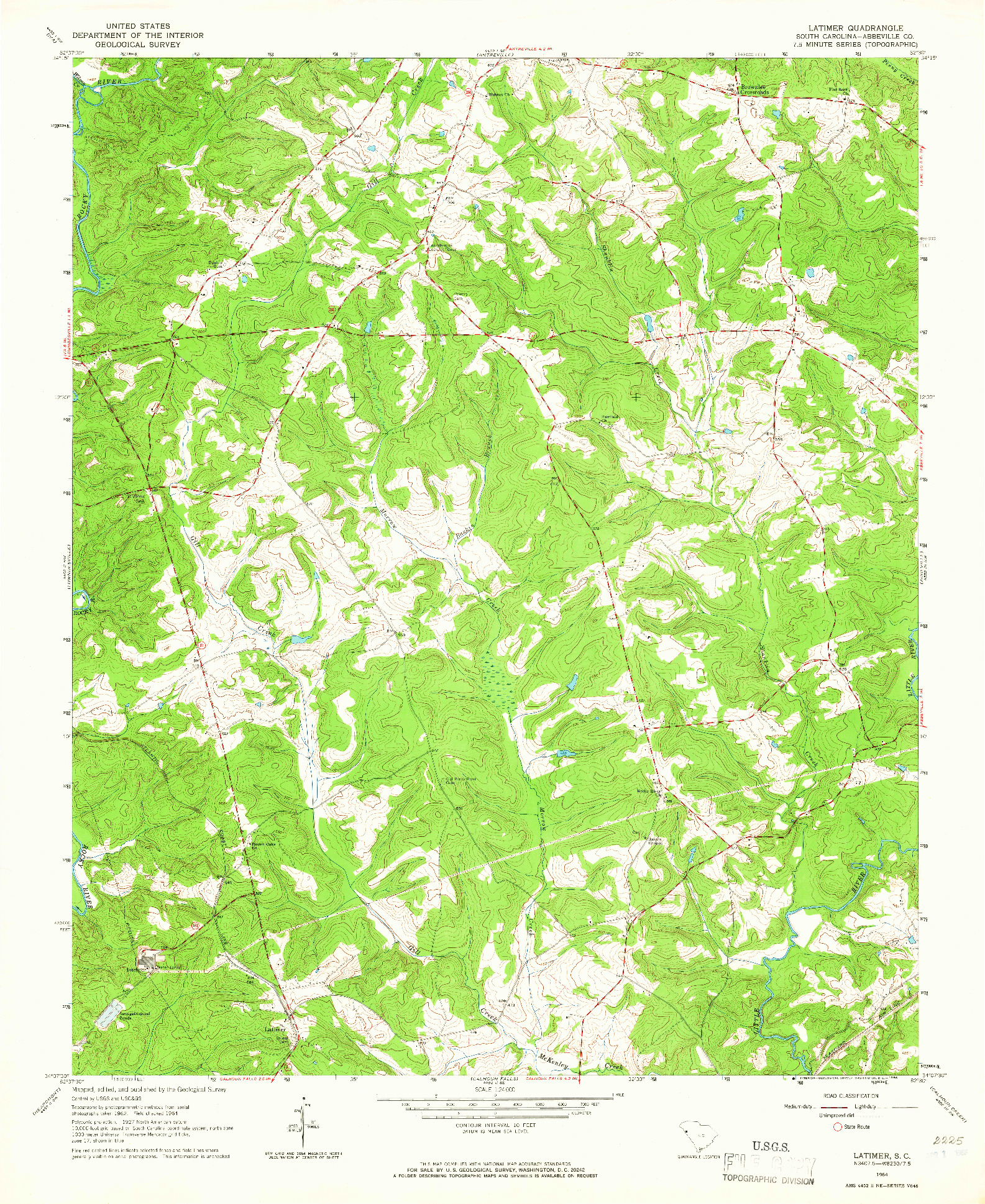USGS 1:24000-SCALE QUADRANGLE FOR LATIMER, SC 1964