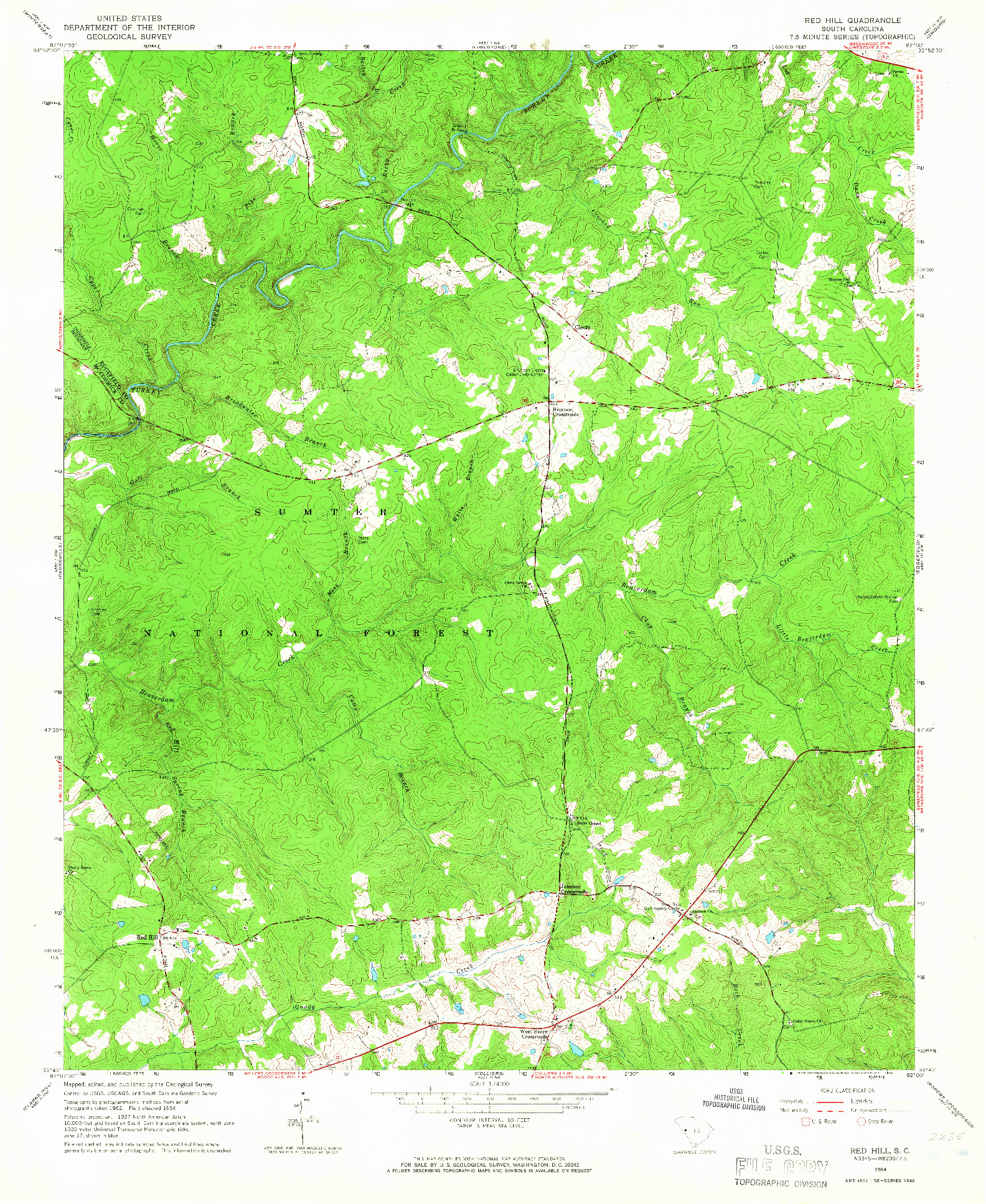 USGS 1:24000-SCALE QUADRANGLE FOR RED HILL, SC 1964