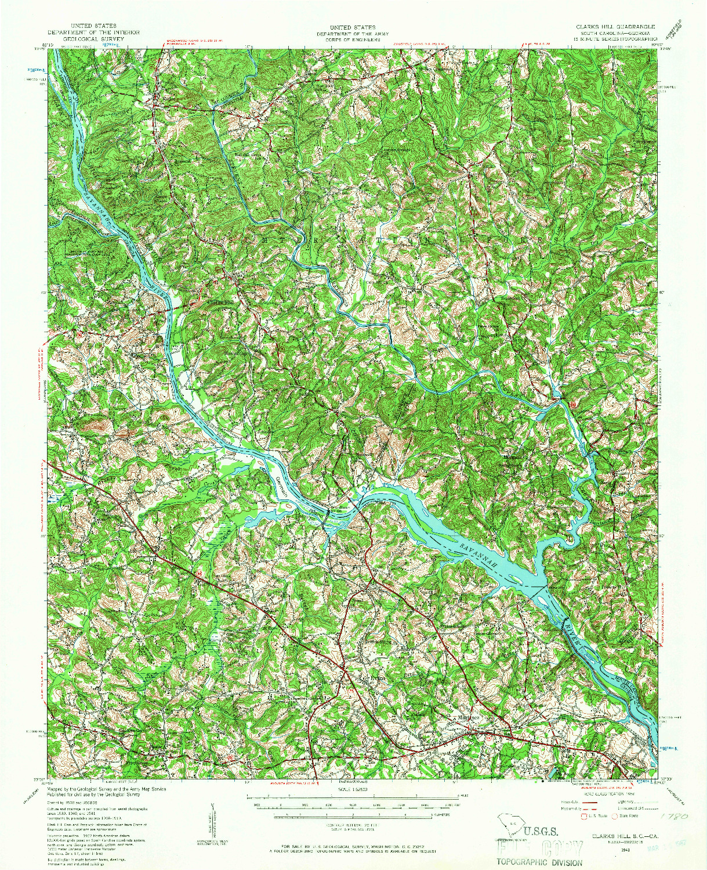 USGS 1:62500-SCALE QUADRANGLE FOR CLARKS HILL, SC 1941