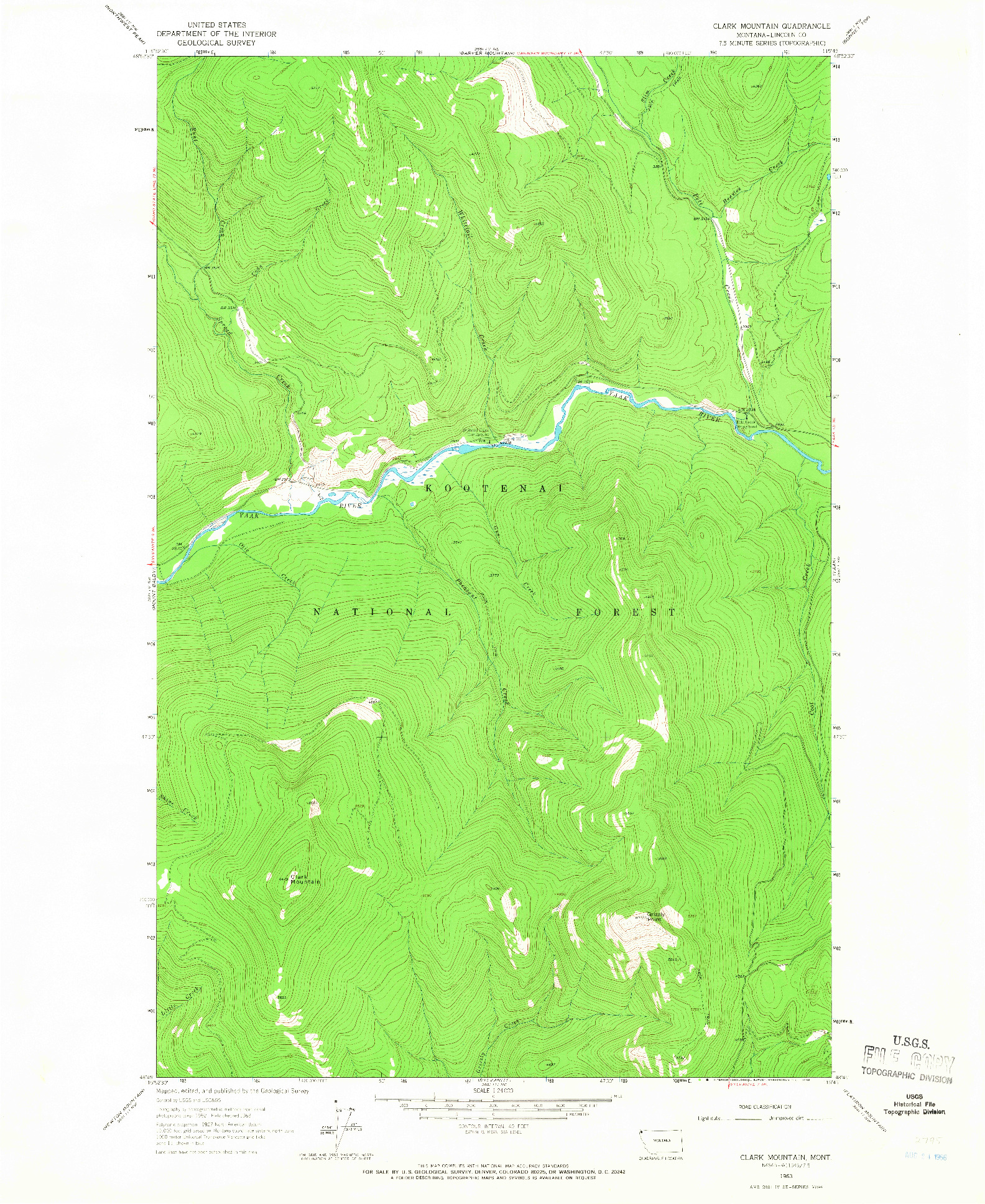 USGS 1:24000-SCALE QUADRANGLE FOR CLARK MOUNTAIN, MT 1963