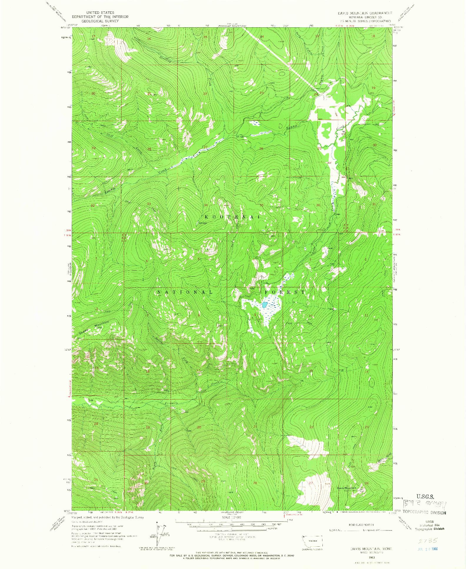 USGS 1:24000-SCALE QUADRANGLE FOR DAVIS MOUNTAIN, MT 1963