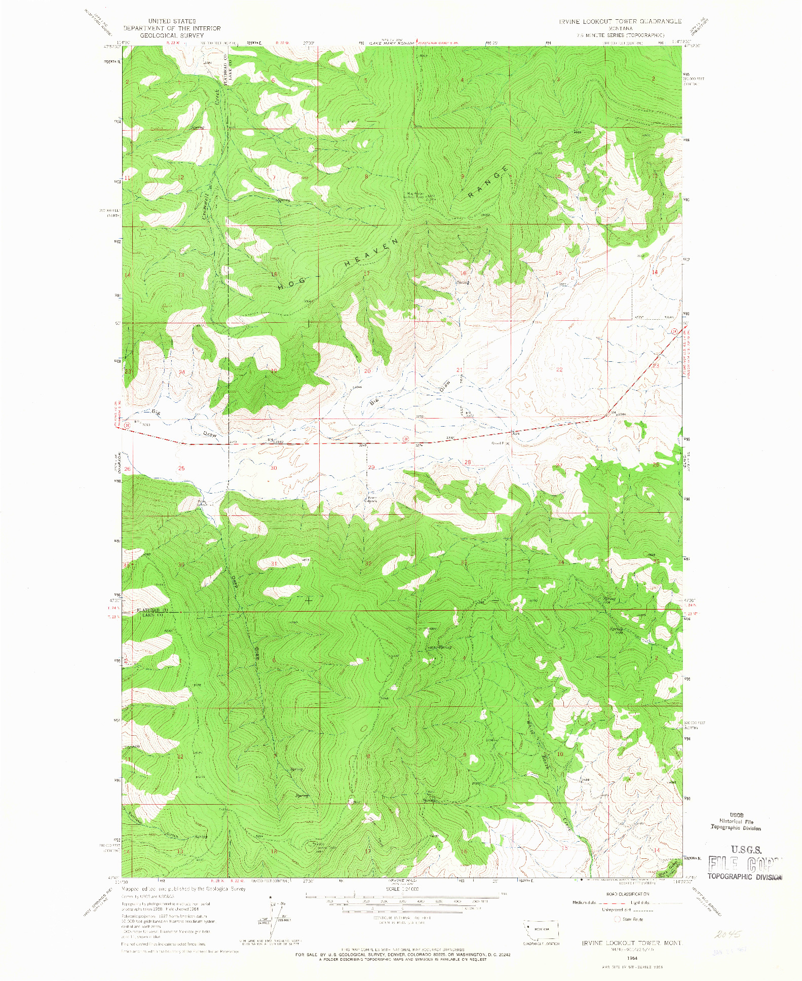 USGS 1:24000-SCALE QUADRANGLE FOR IRVINE LOOKOUT TOWER, MT 1964