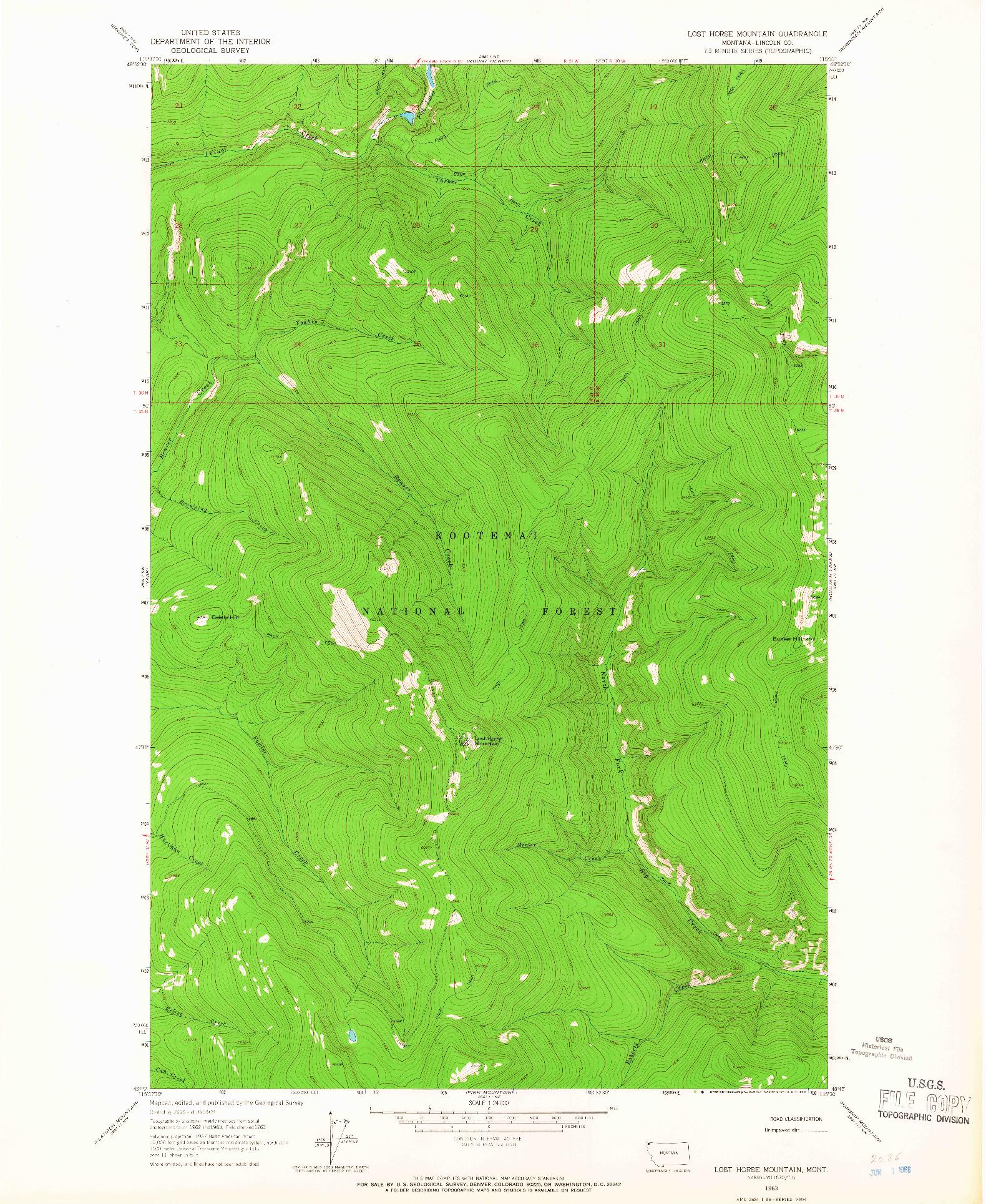USGS 1:24000-SCALE QUADRANGLE FOR LOST HORSE MOUNTAIN, MT 1963