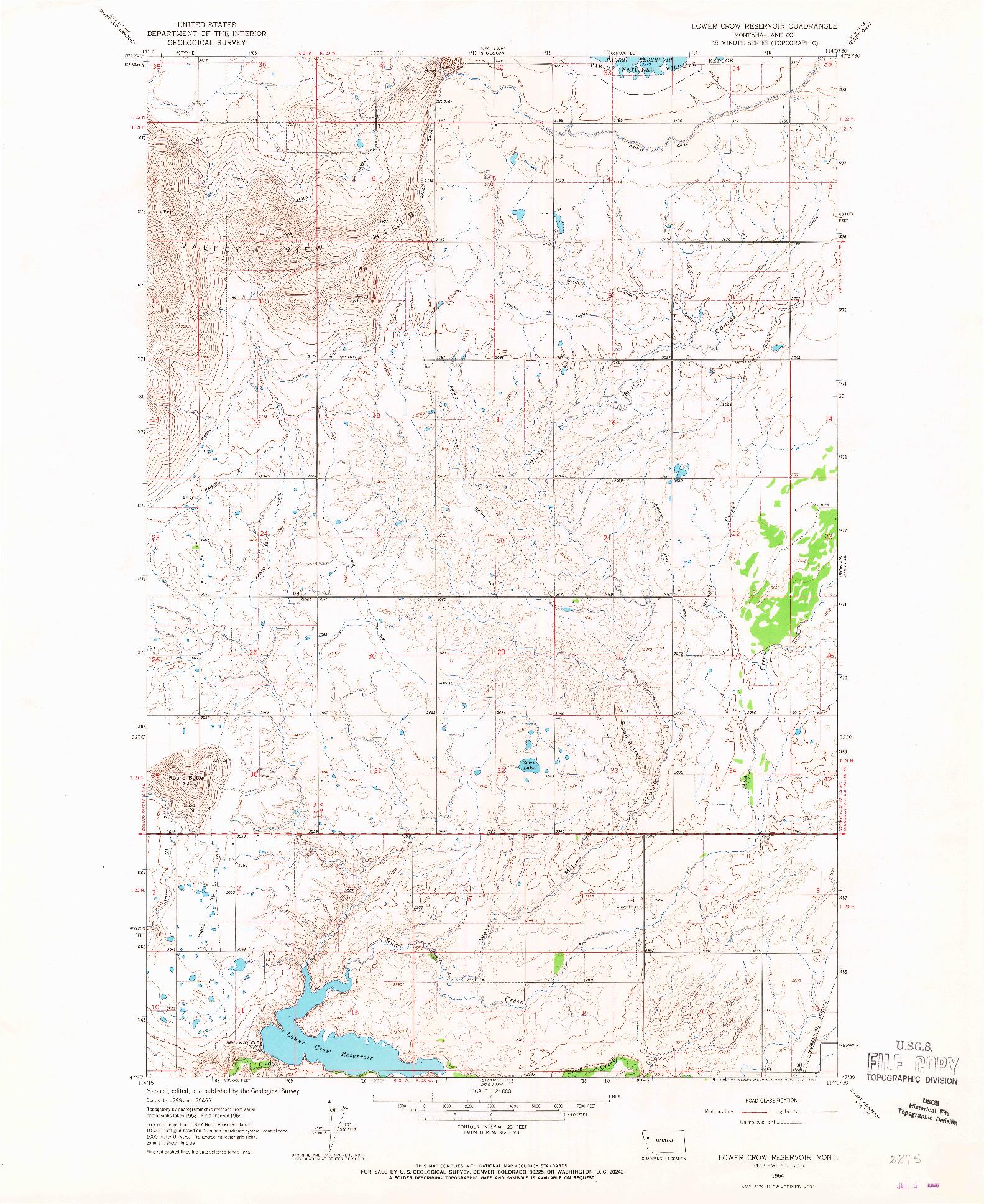 USGS 1:24000-SCALE QUADRANGLE FOR LOWER CROW RESERVOIR, MT 1964