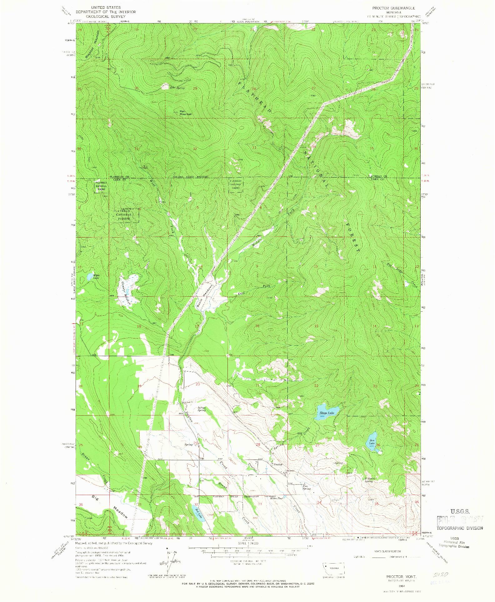USGS 1:24000-SCALE QUADRANGLE FOR PROCTOR, MT 1964