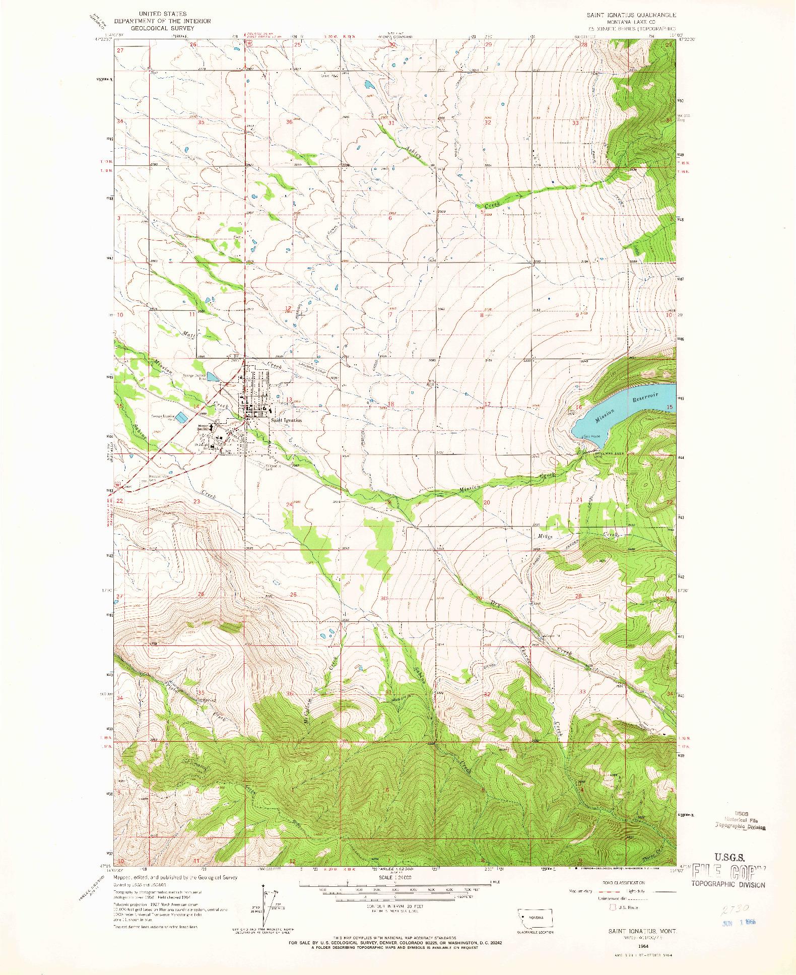 USGS 1:24000-SCALE QUADRANGLE FOR SAINT IGNATIUS, MT 1964