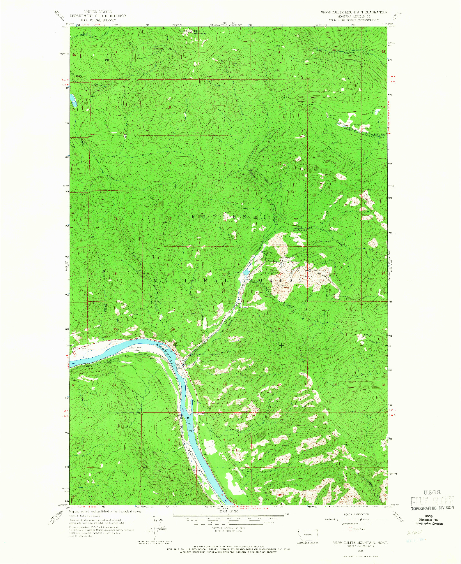 USGS 1:24000-SCALE QUADRANGLE FOR VERMICULITE MOUNTAIN, MT 1963