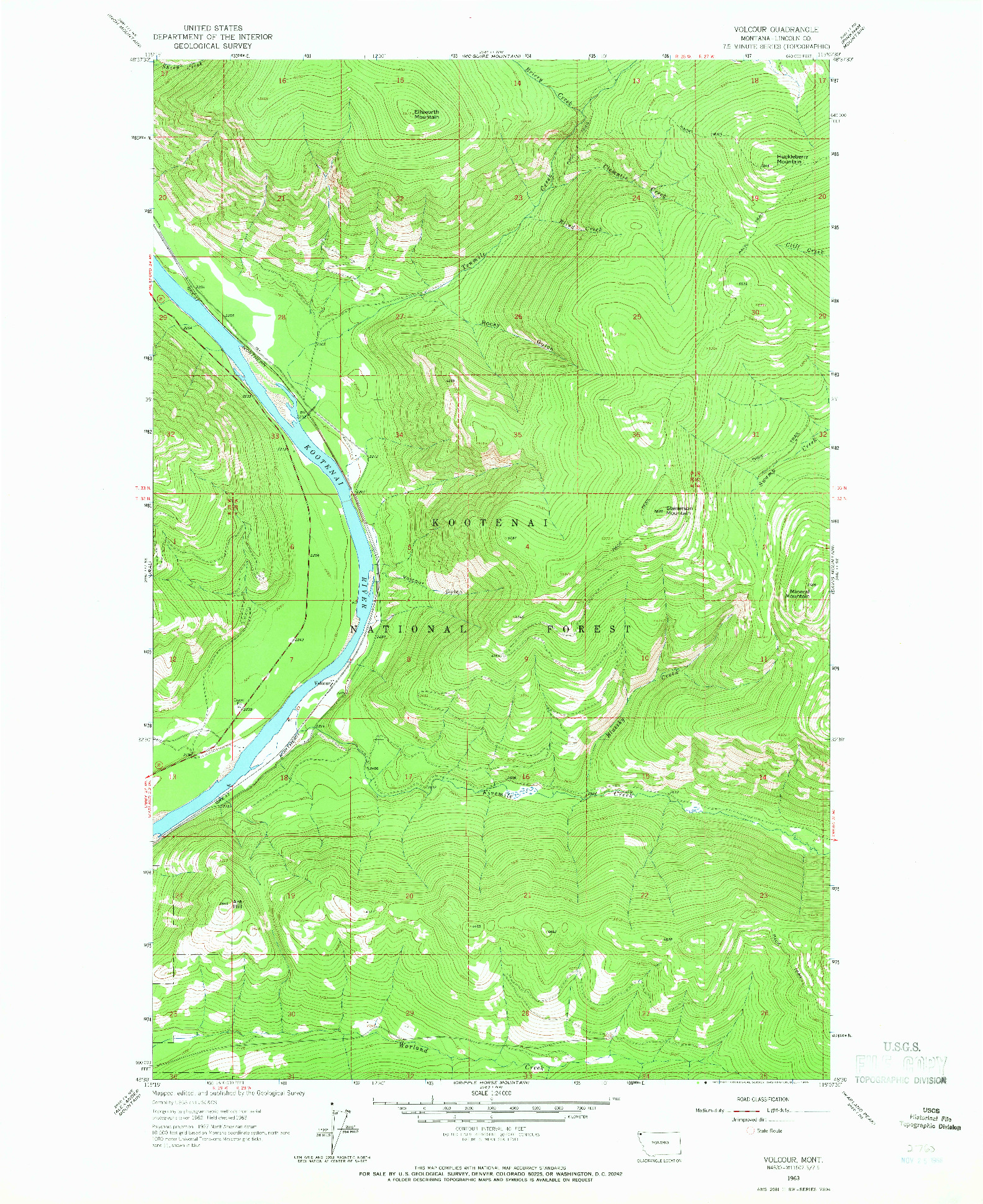 USGS 1:24000-SCALE QUADRANGLE FOR VOLCOUR, MT 1963