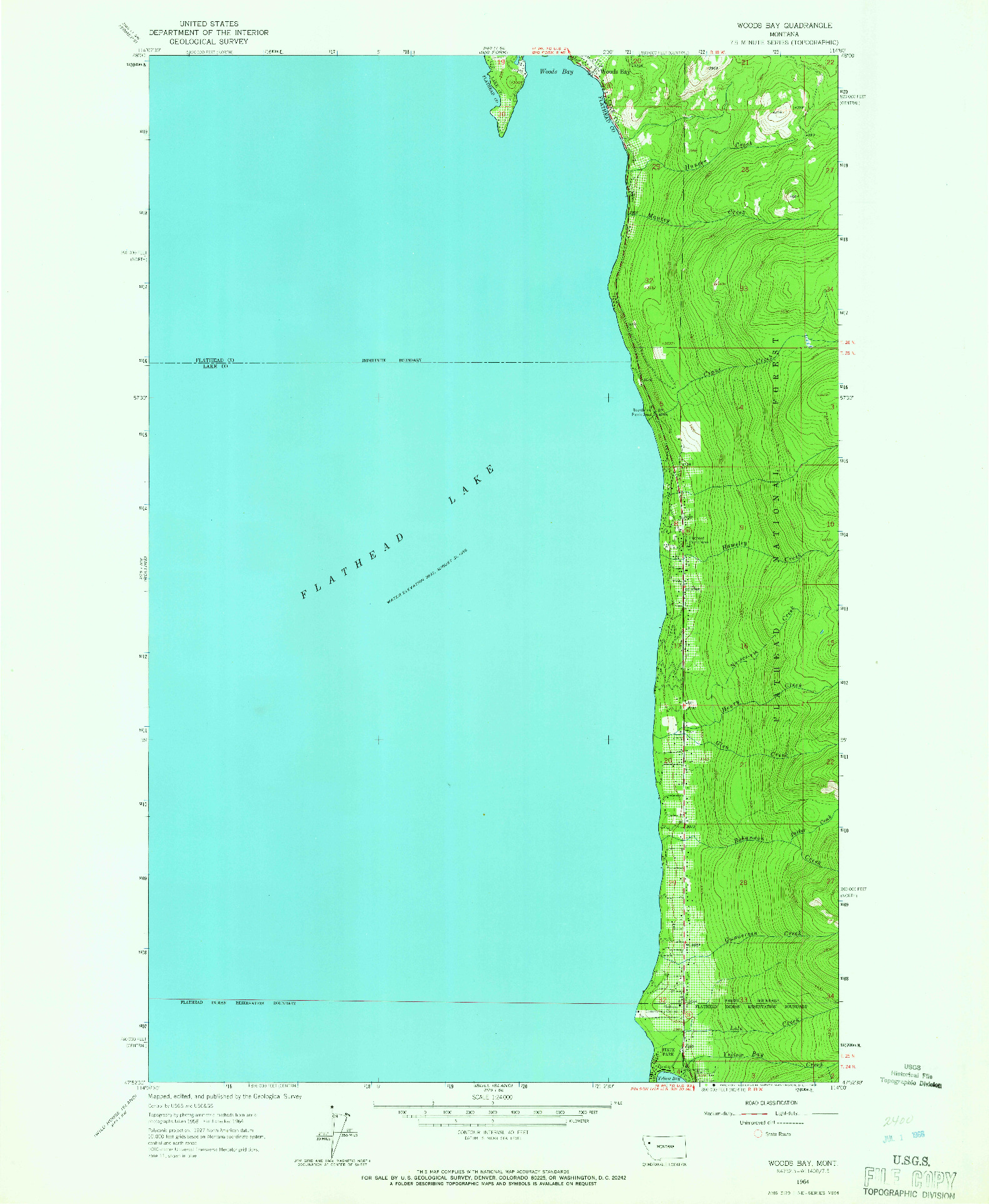 USGS 1:24000-SCALE QUADRANGLE FOR WOODS BAY, MT 1964