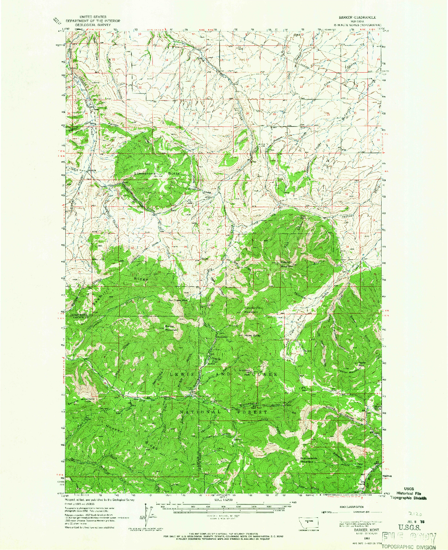 USGS 1:62500-SCALE QUADRANGLE FOR BARKER, MT 1961