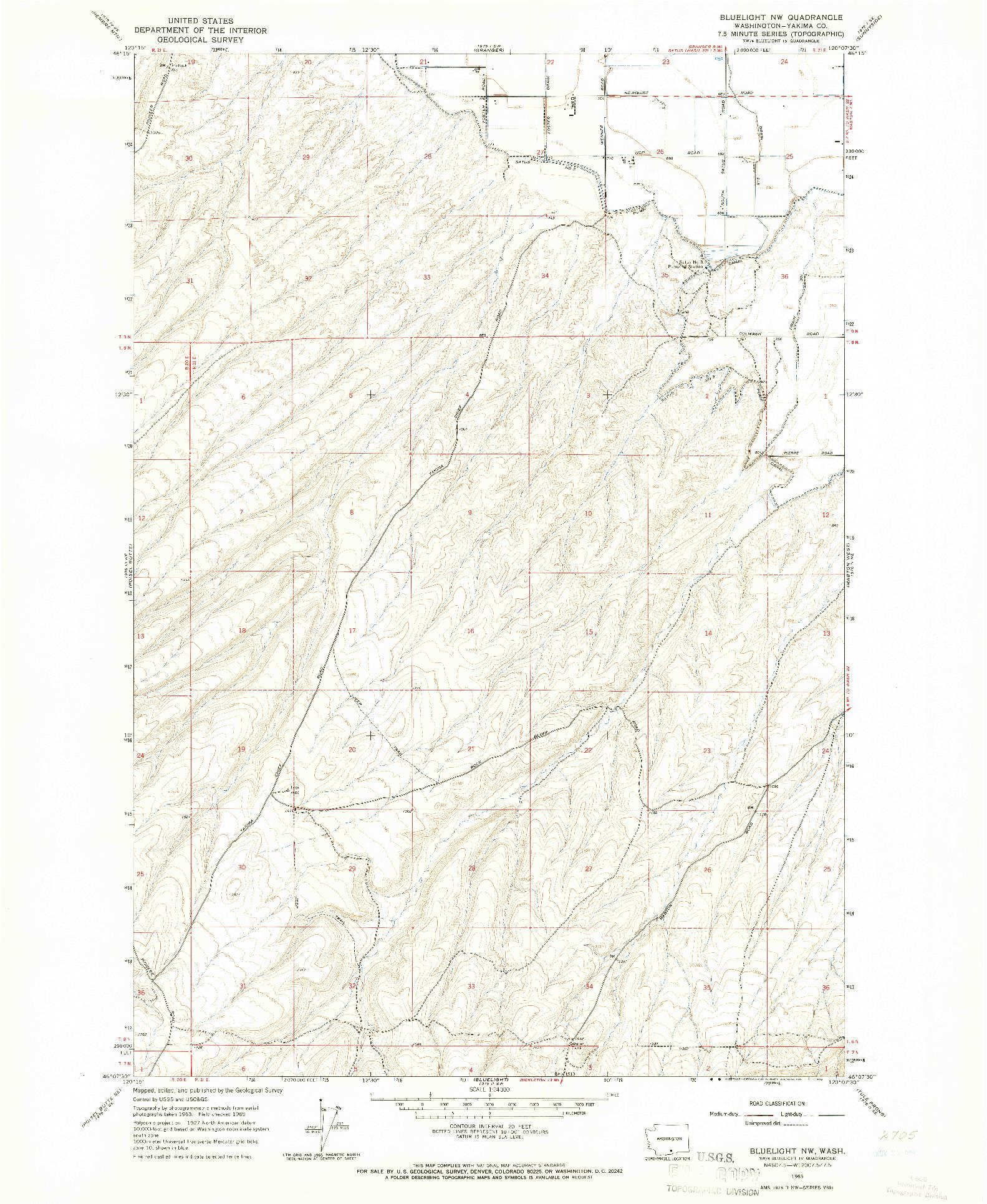 USGS 1:24000-SCALE QUADRANGLE FOR BLUELIGHT NW, WA 1965