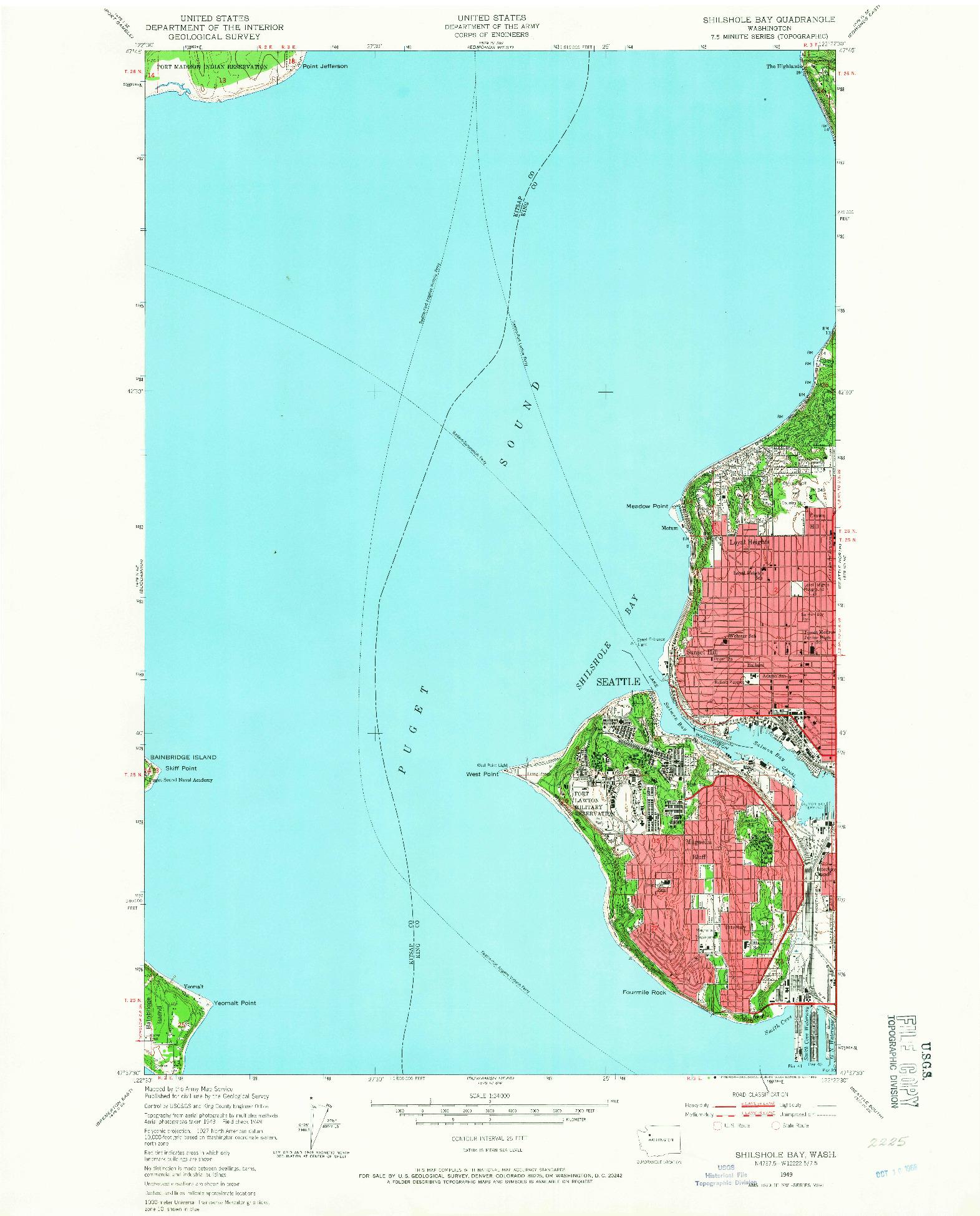 USGS 1:24000-SCALE QUADRANGLE FOR SHILSHOLE BAY, WA 1949