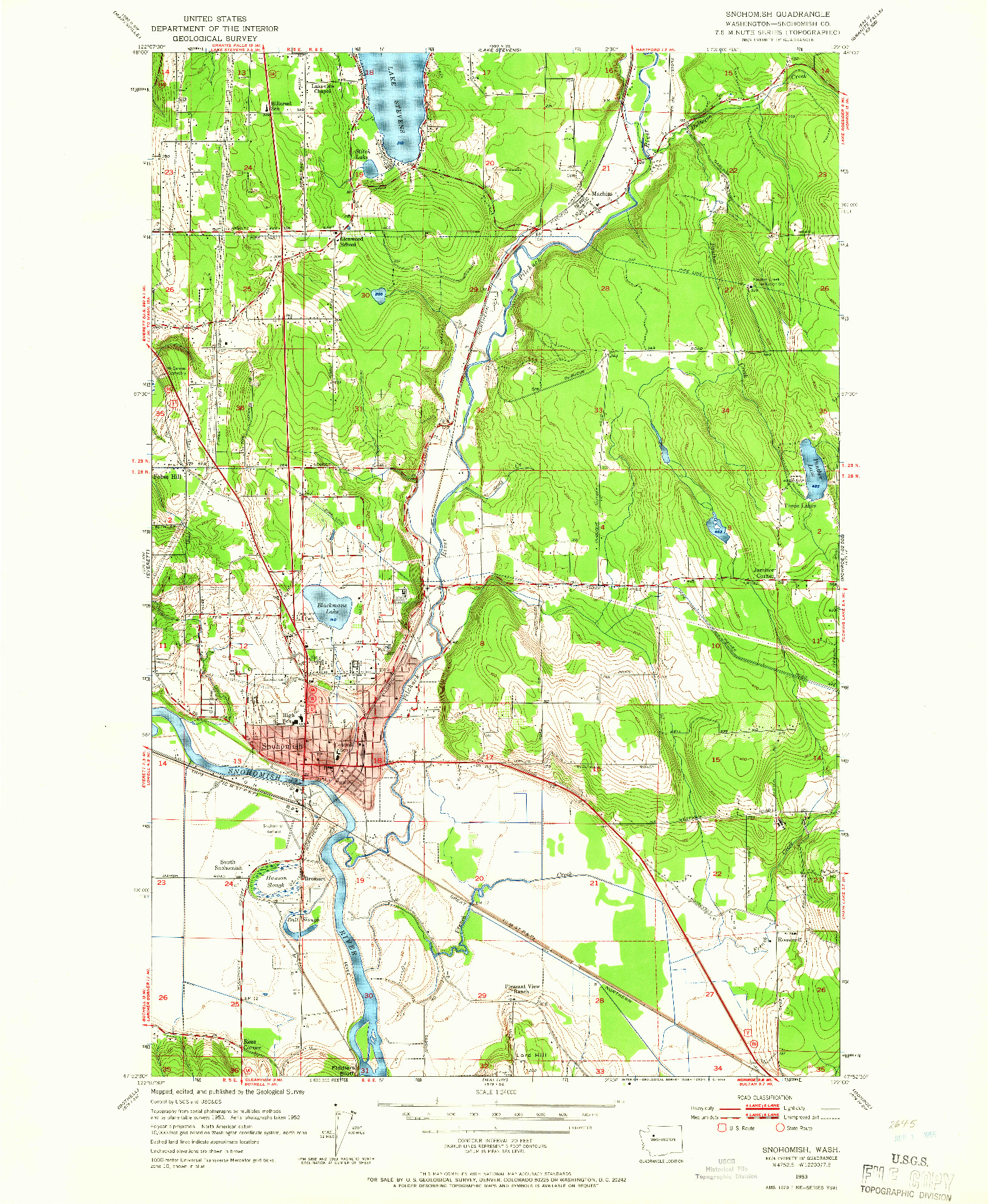 USGS 1:24000-SCALE QUADRANGLE FOR SNOHOMISH, WA 1953