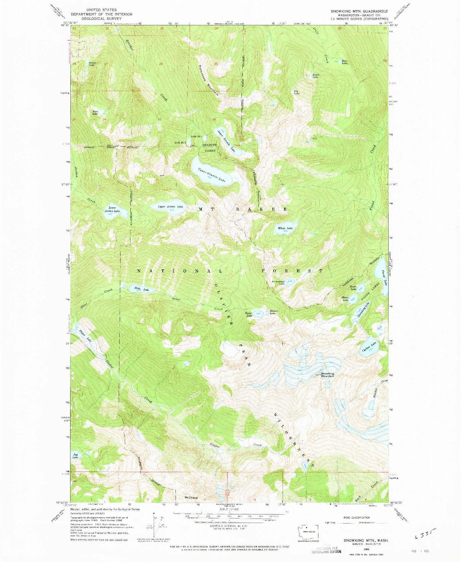 USGS 1:24000-SCALE QUADRANGLE FOR SNOWKING MTN., WA 1966