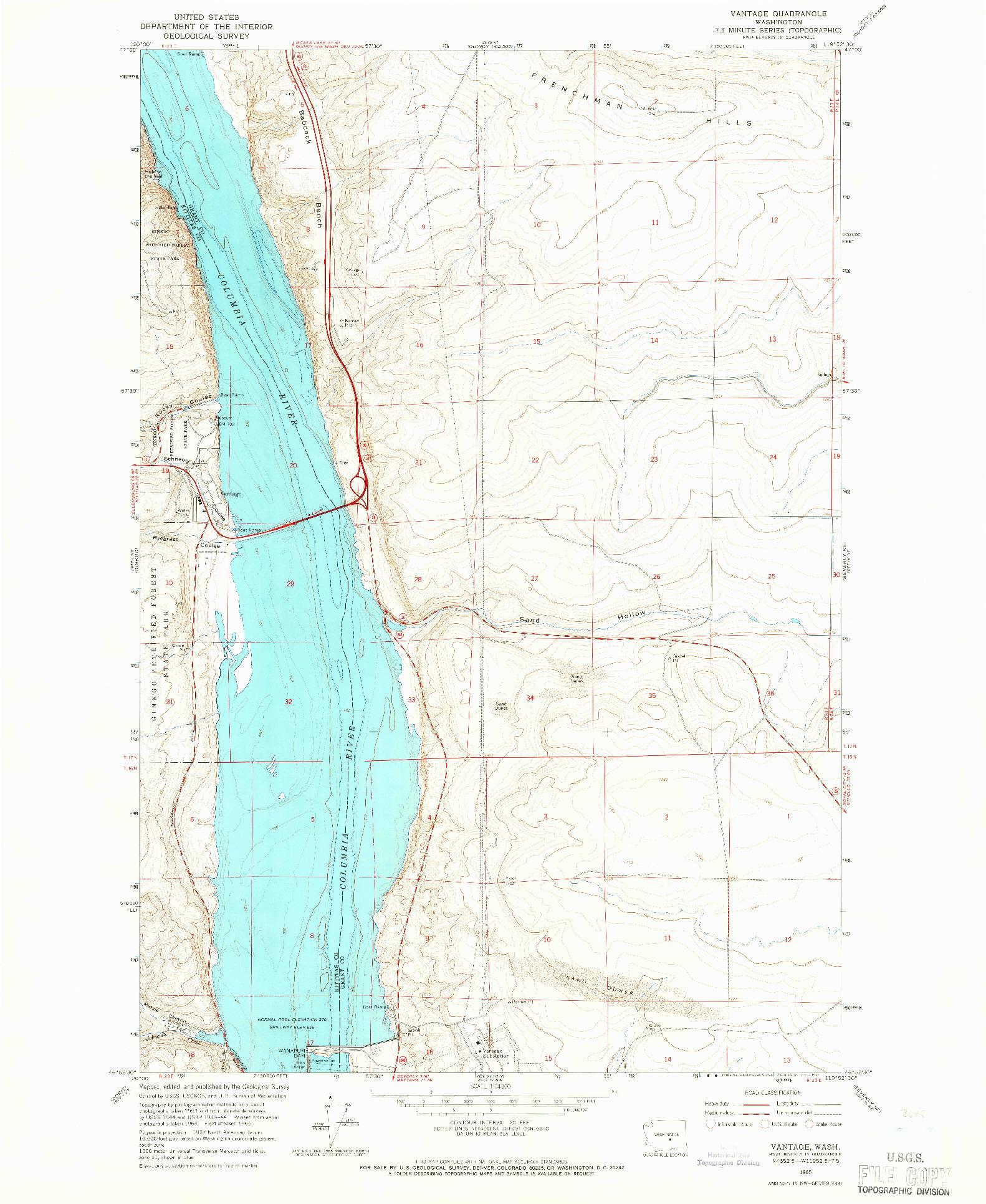 USGS 1:24000-SCALE QUADRANGLE FOR VANTAGE, WA 1965