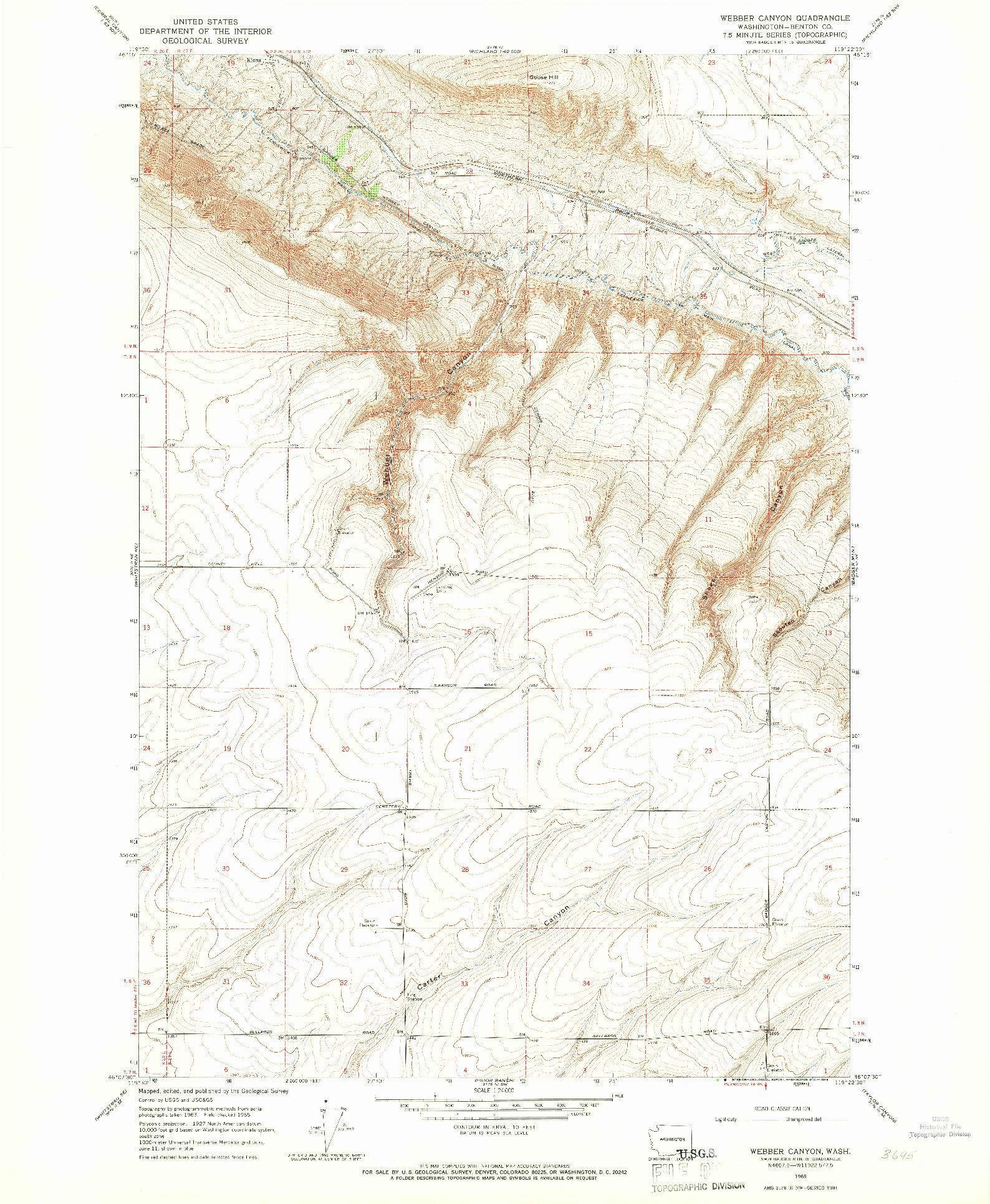 USGS 1:24000-SCALE QUADRANGLE FOR WEBER CANYON, WA 1965