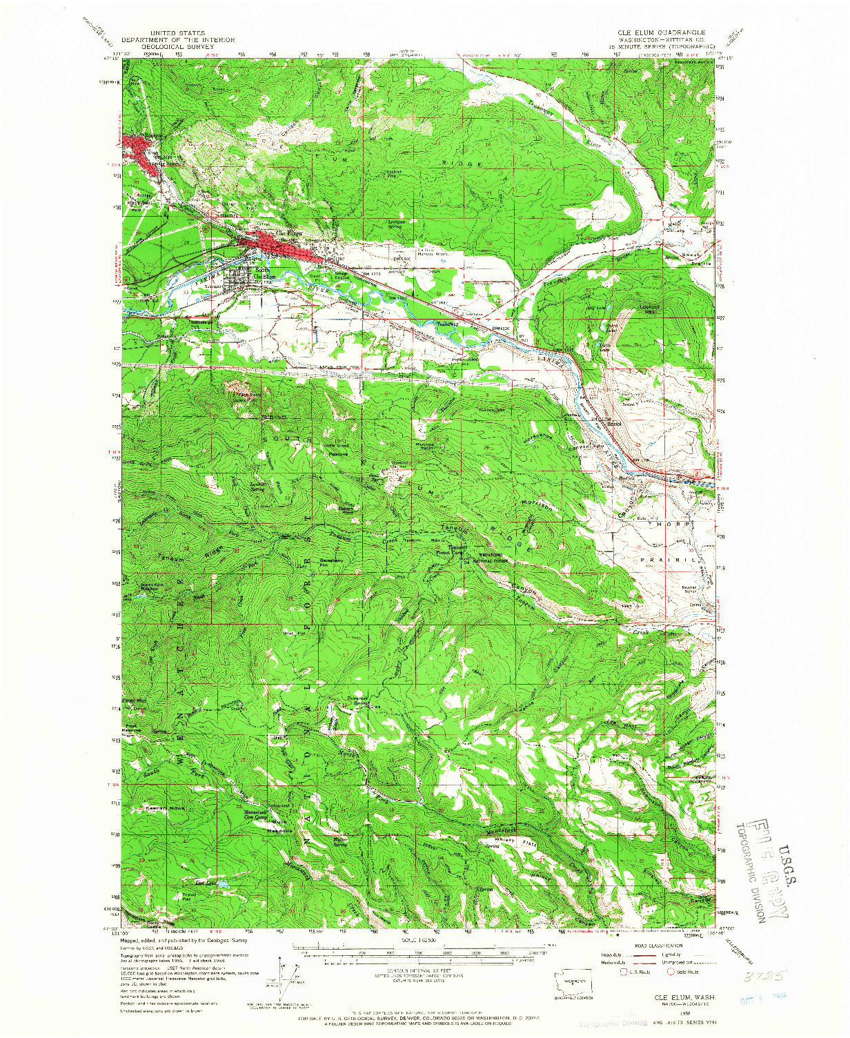 USGS 1:62500-SCALE QUADRANGLE FOR CLE ELUM, WA 1958