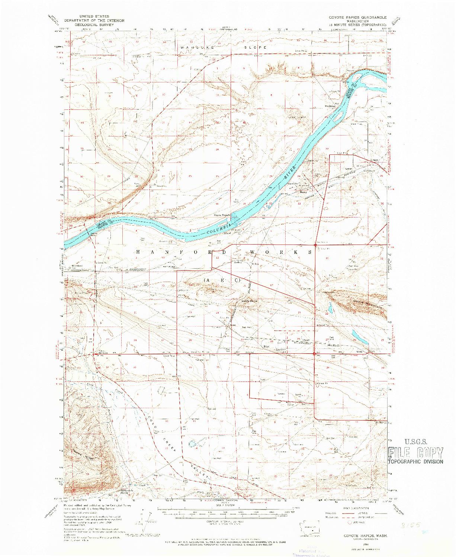 USGS 1:62500-SCALE QUADRANGLE FOR COYOTE RAPIDS, WA 1965