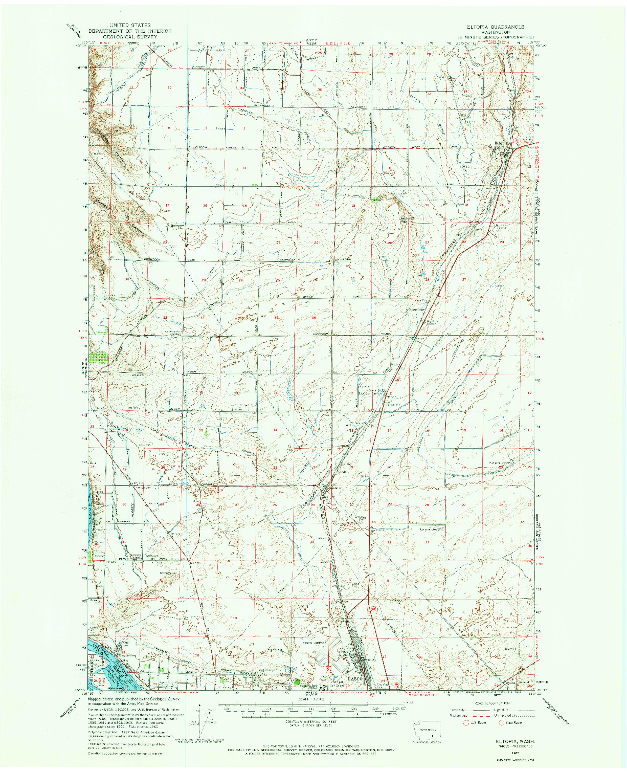 USGS 1:62500-SCALE QUADRANGLE FOR ELTOPIA, WA 1965