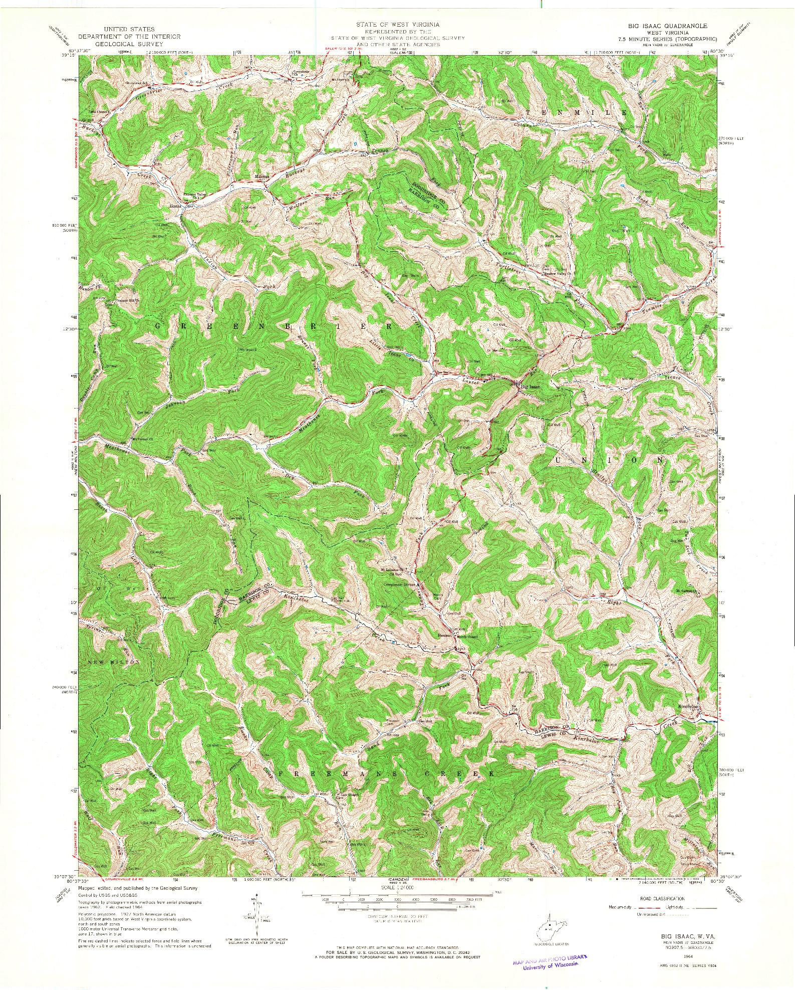 USGS 1:24000-SCALE QUADRANGLE FOR BIG ISAAC, WV 1964