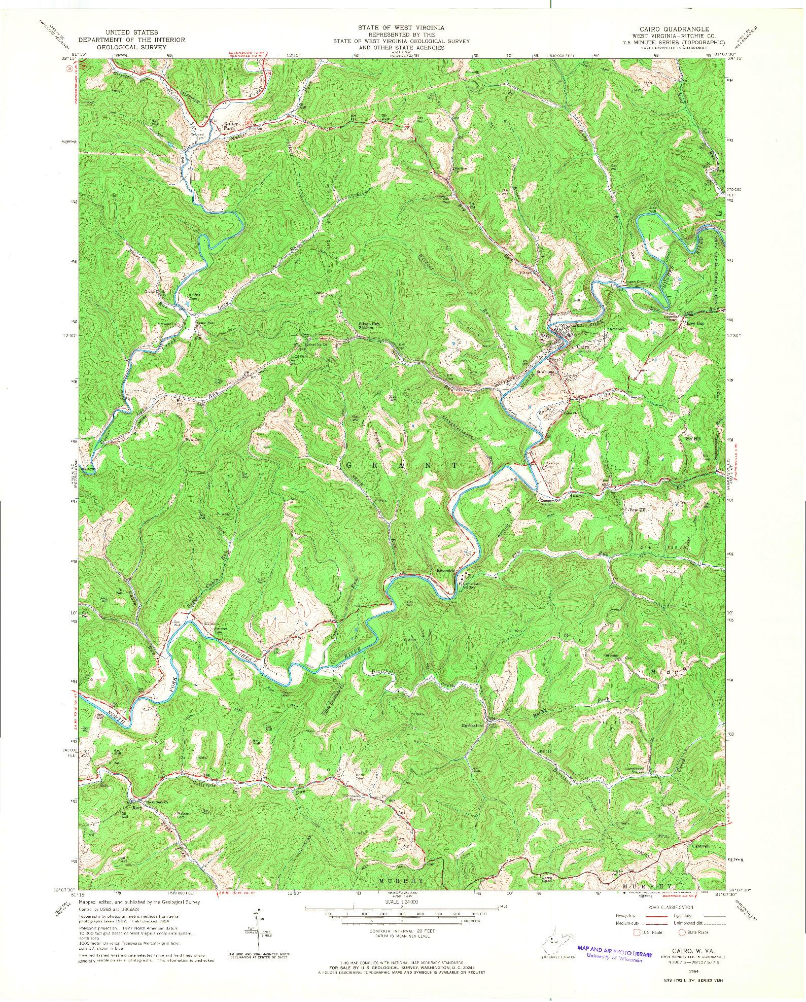 USGS 1:24000-SCALE QUADRANGLE FOR CAIRO, WV 1964