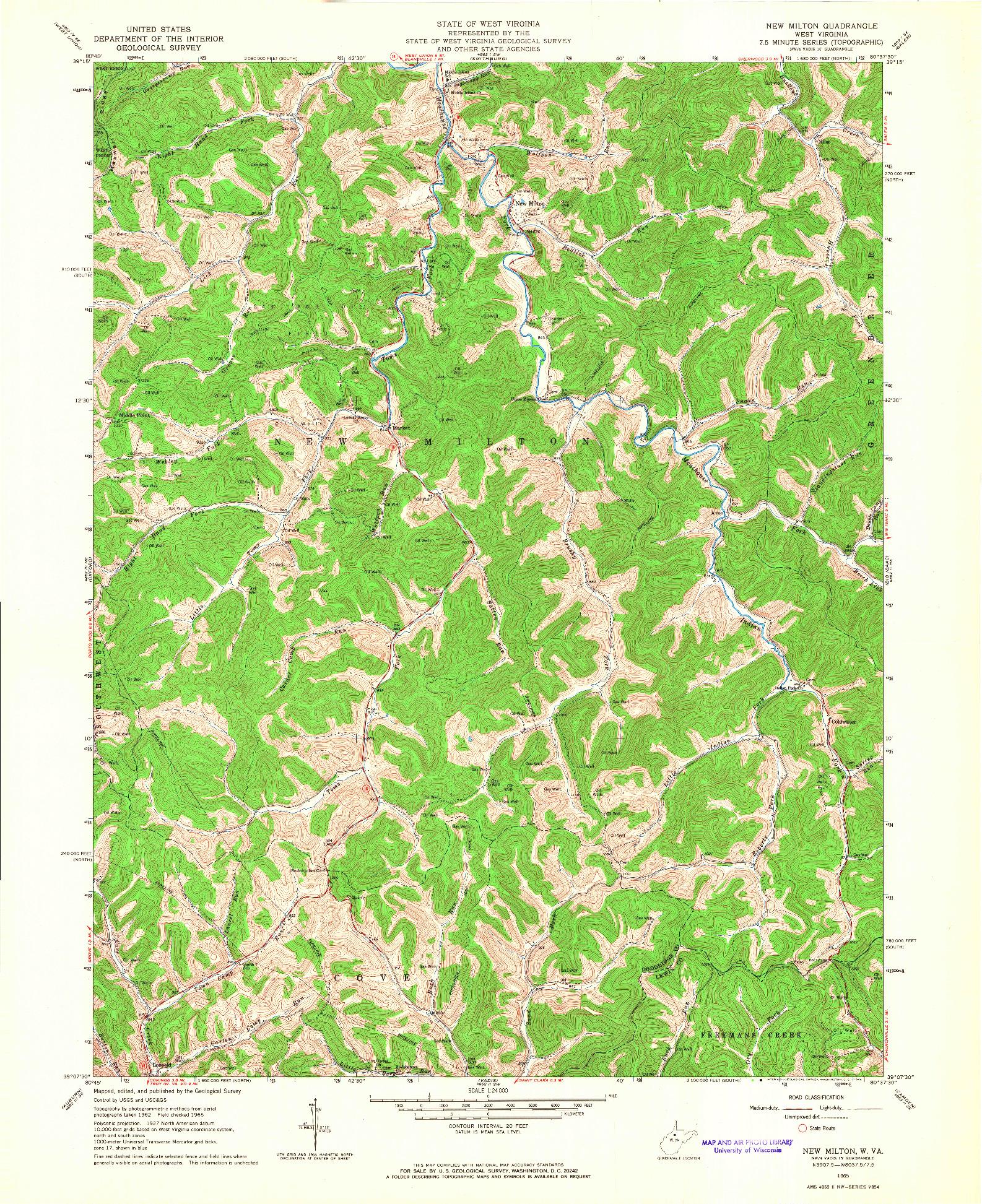 USGS 1:24000-SCALE QUADRANGLE FOR NEW MILTON, WV 1965