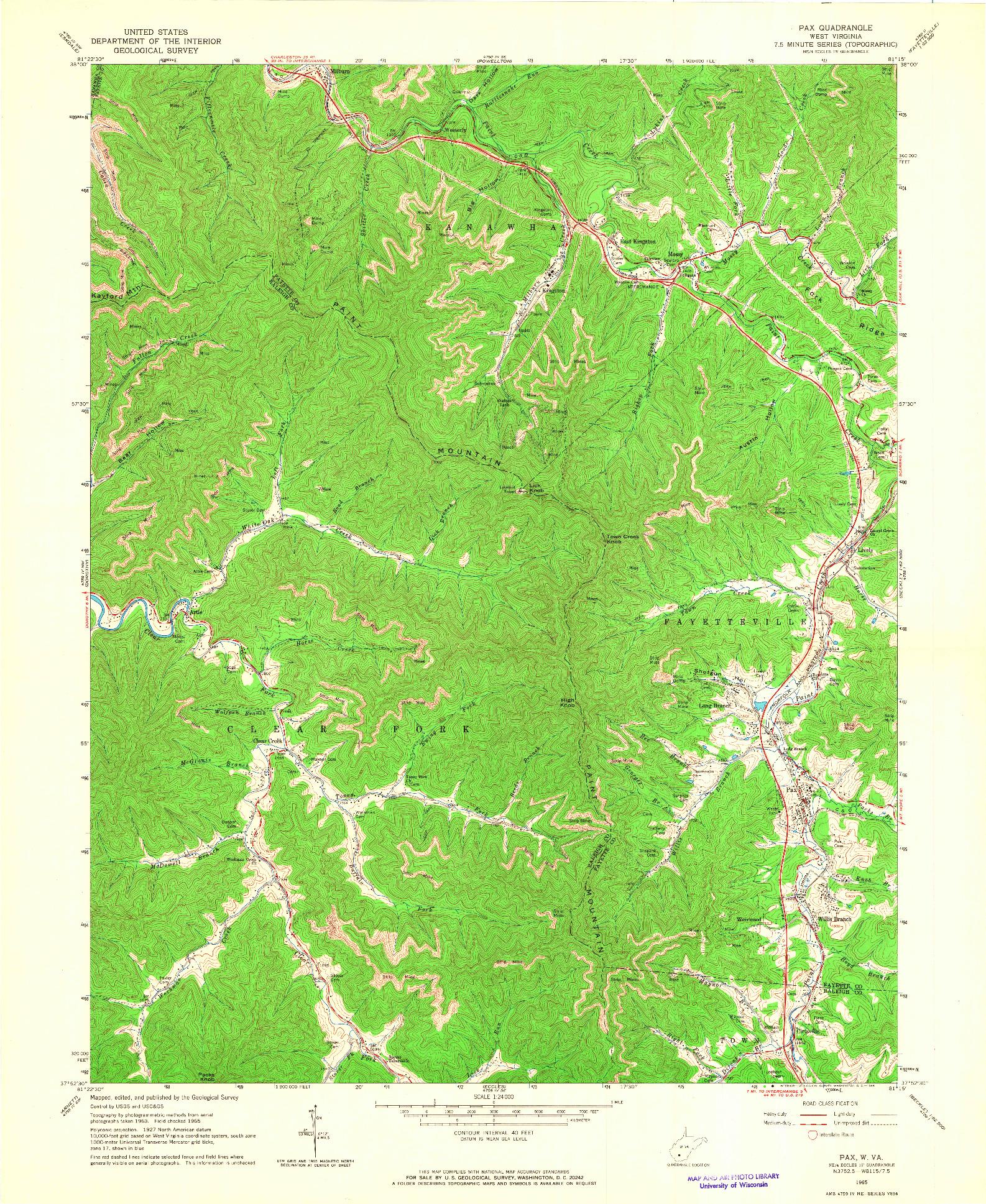 USGS 1:24000-SCALE QUADRANGLE FOR PAX, WV 1965