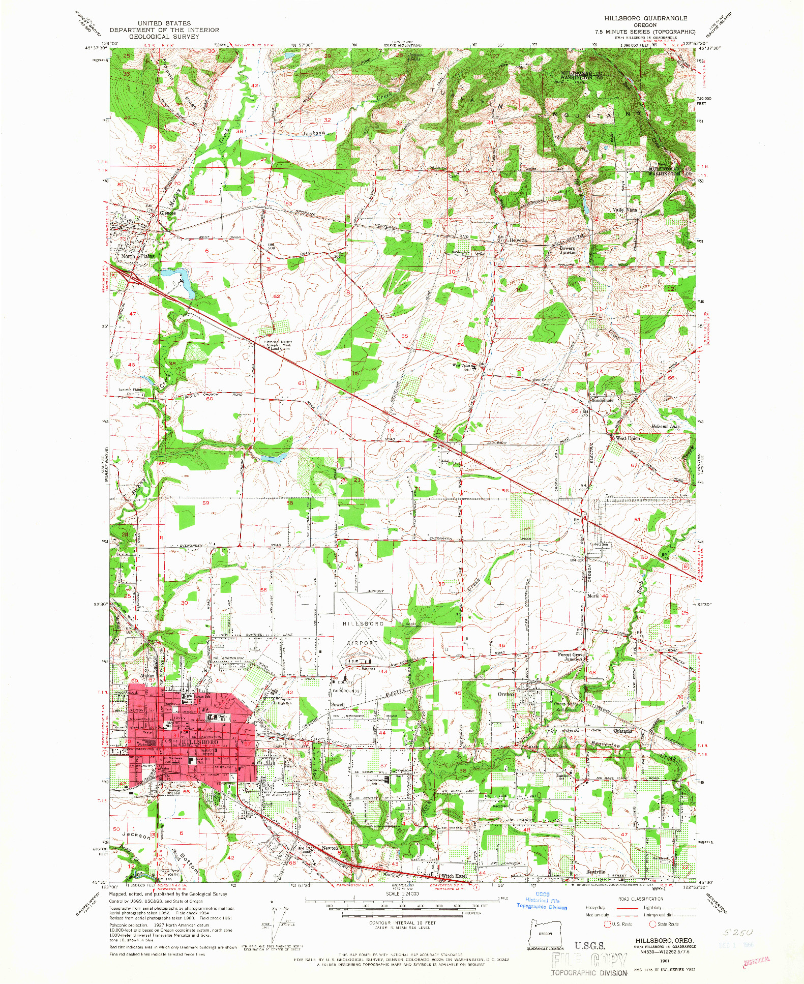 USGS 1:24000-SCALE QUADRANGLE FOR HILLSBORO, OR 1961