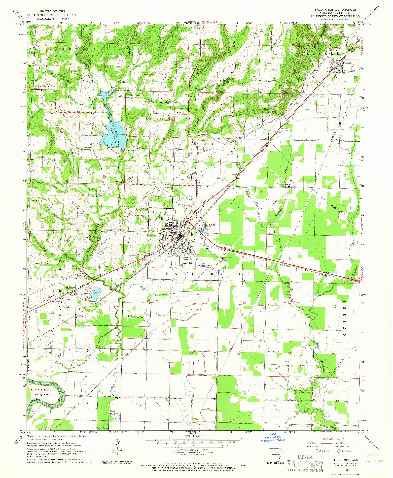 USGS 1:24000-SCALE QUADRANGLE FOR BALD KNOB, AR 1965
