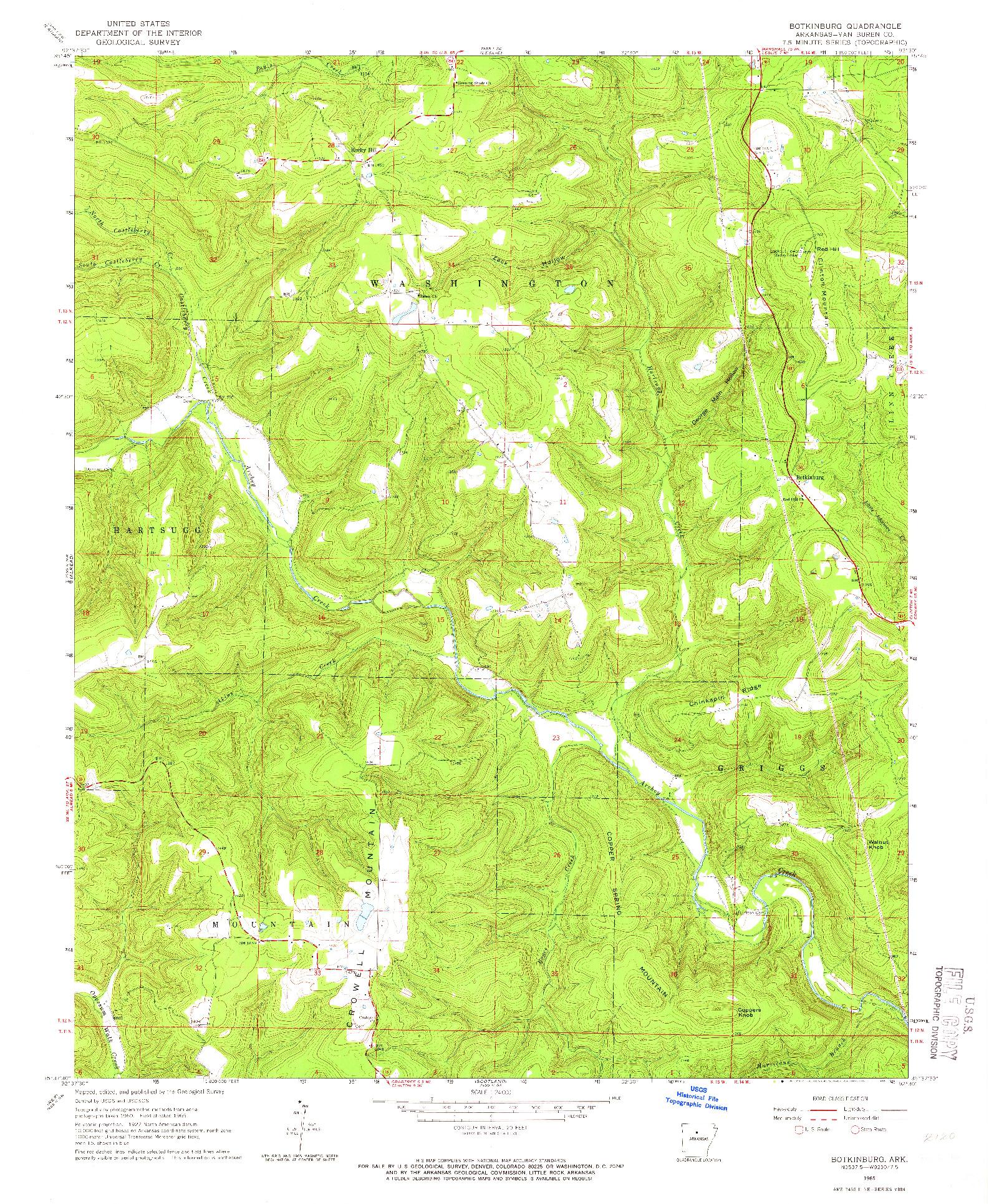 USGS 1:24000-SCALE QUADRANGLE FOR BOTKINBURG, AR 1965