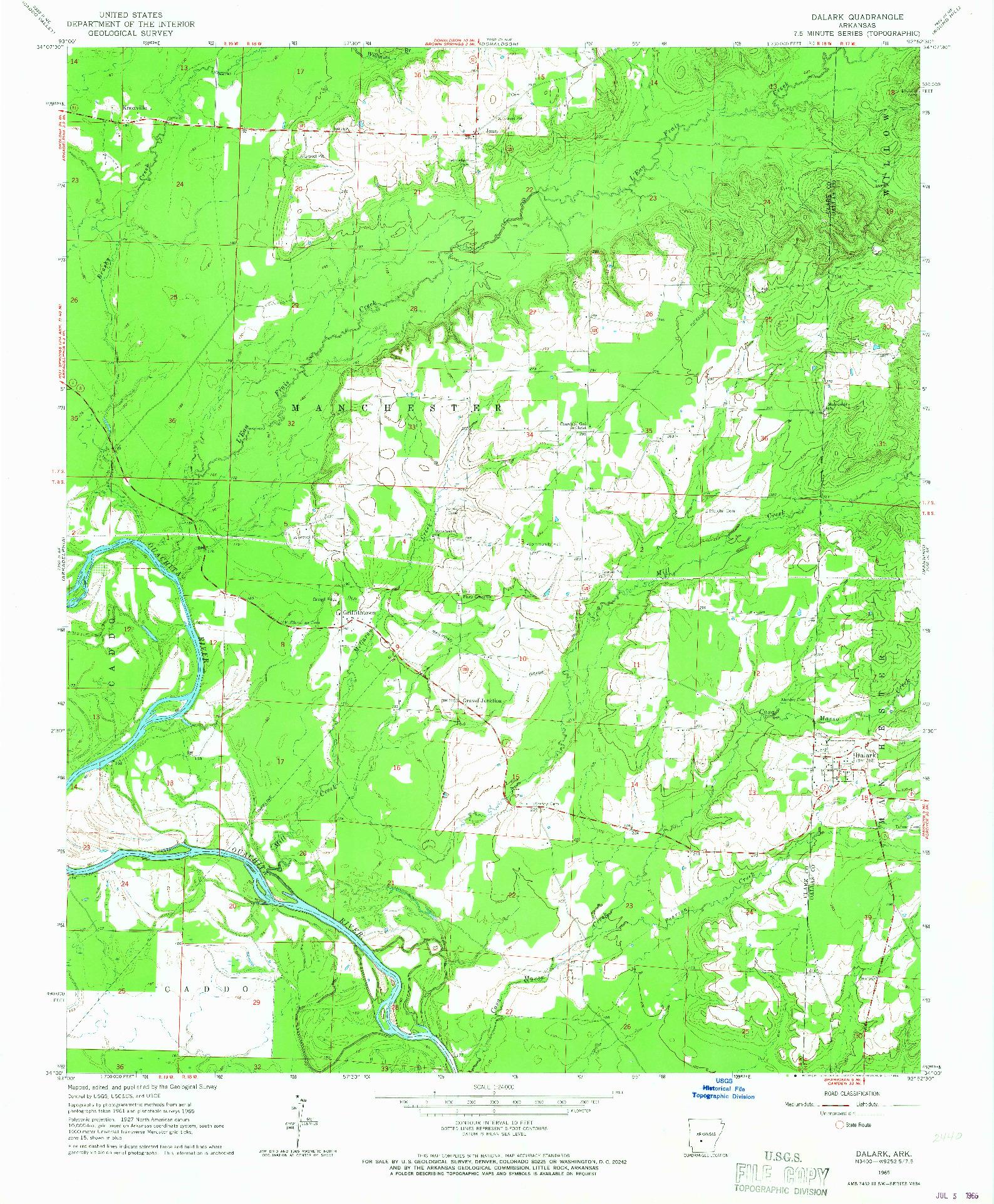 USGS 1:24000-SCALE QUADRANGLE FOR DALARK, AR 1965