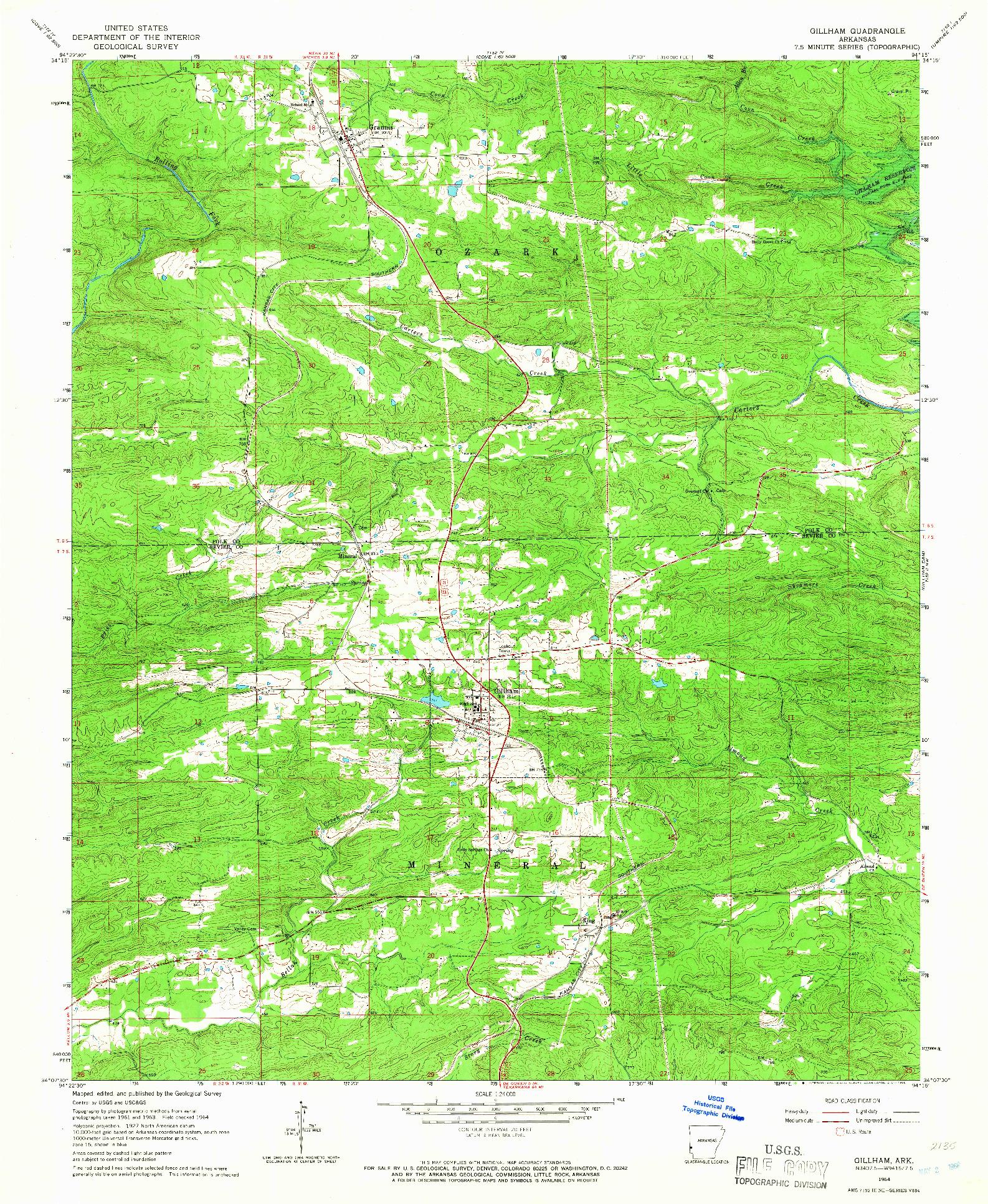 USGS 1:24000-SCALE QUADRANGLE FOR GILLHAM, AR 1964