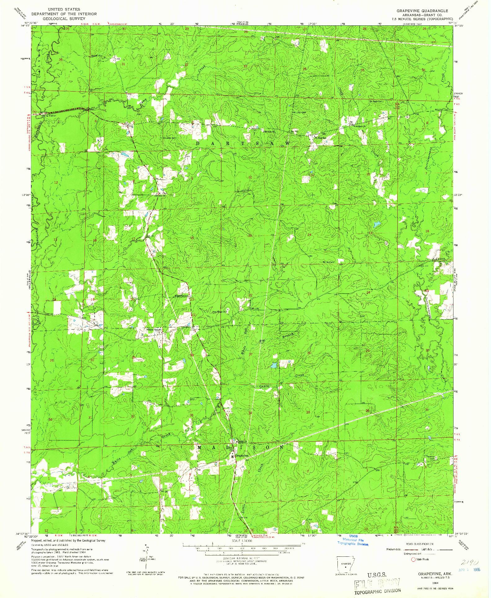 USGS 1:24000-SCALE QUADRANGLE FOR GRAPEVINE, AR 1964