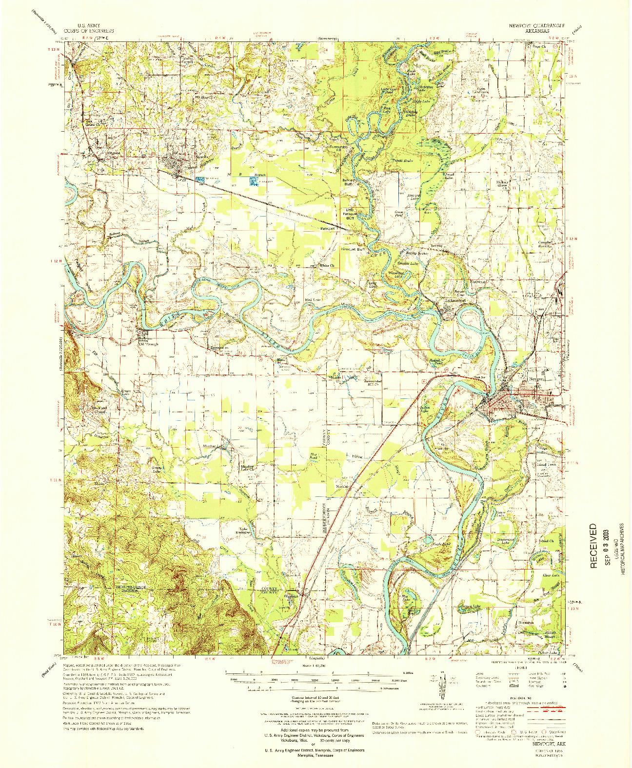 USGS 1:62500-SCALE QUADRANGLE FOR NEWPORT, AR 1966