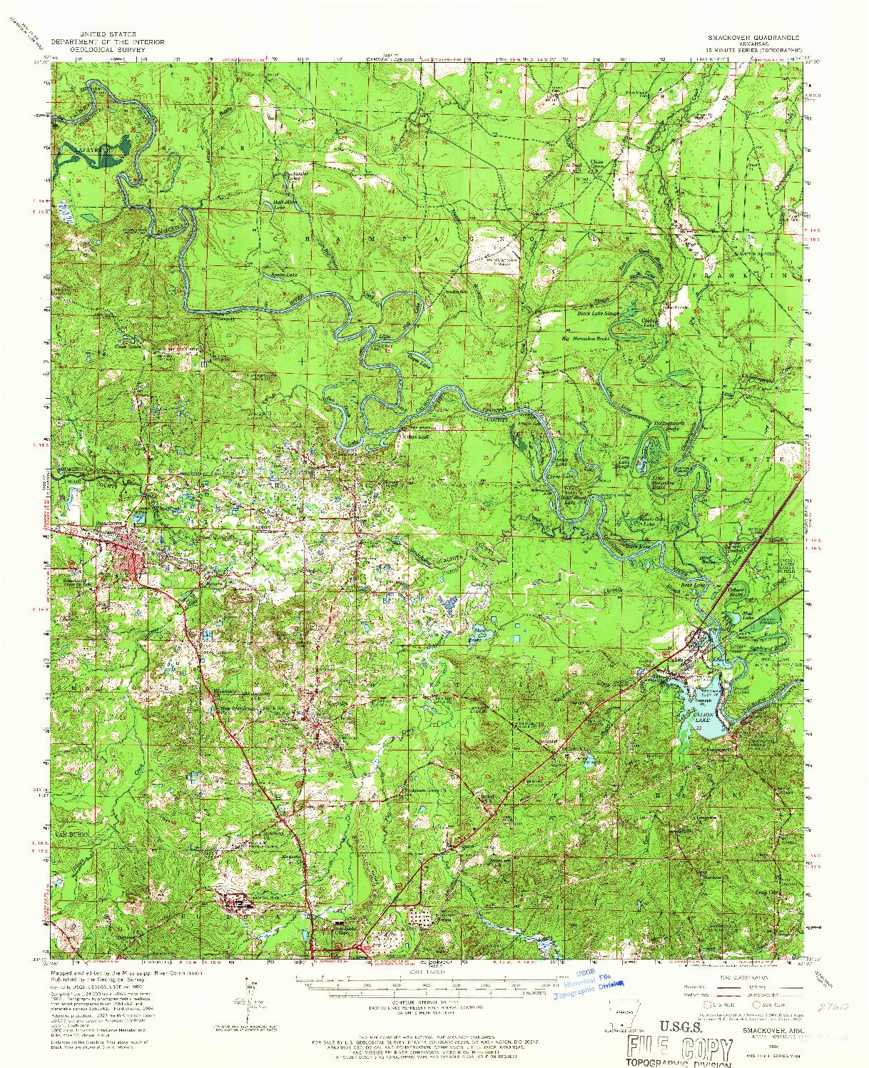 USGS 1:62500-SCALE QUADRANGLE FOR SMACKOVER, AR 1964