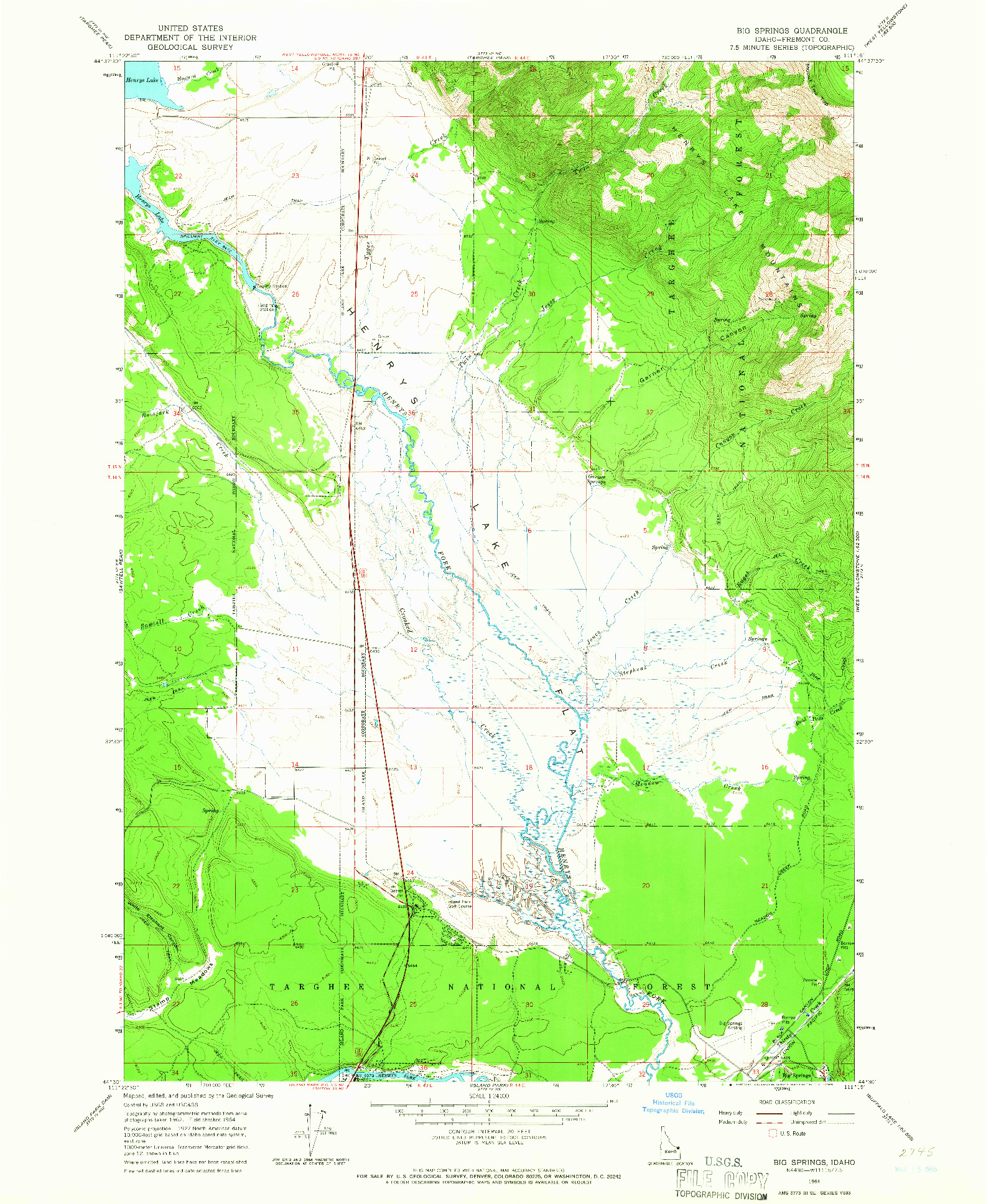 USGS 1:24000-SCALE QUADRANGLE FOR BIG SPRINGS, ID 1964