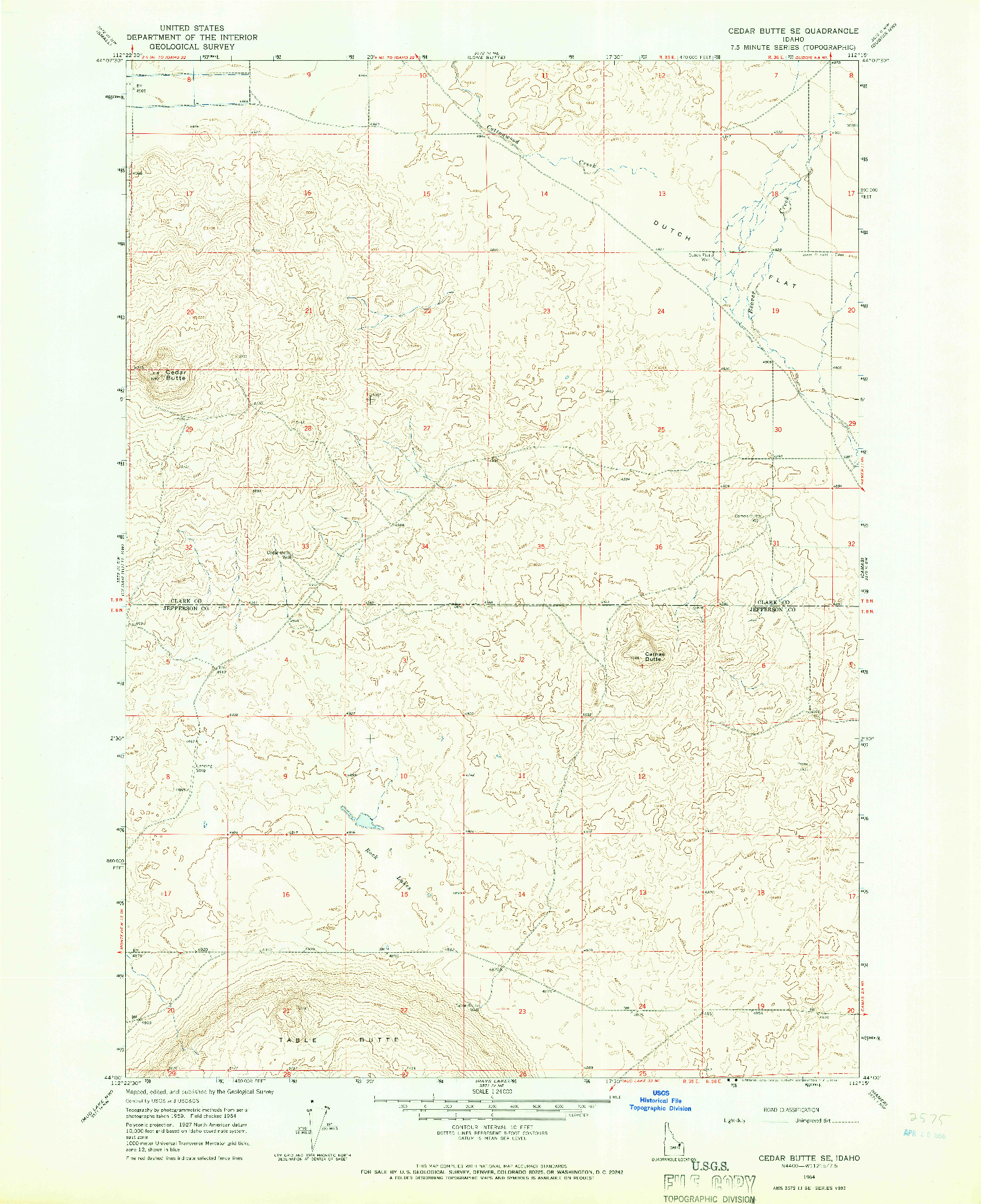 USGS 1:24000-SCALE QUADRANGLE FOR CEDAR BUTTE SE, ID 1964